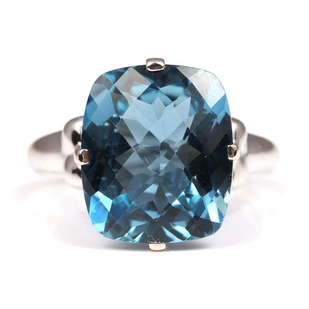 Clyde Duneier 14K White Gold 11.07 CT Blue Topaz Ring