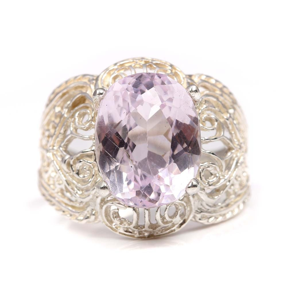 Sterling Silver 6.25 CT Kunzite Ring