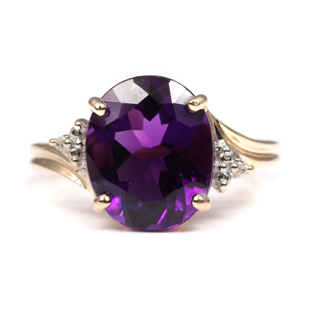 10K Yellow Gold and 4.00 CT Amethyst and Diamond Ring