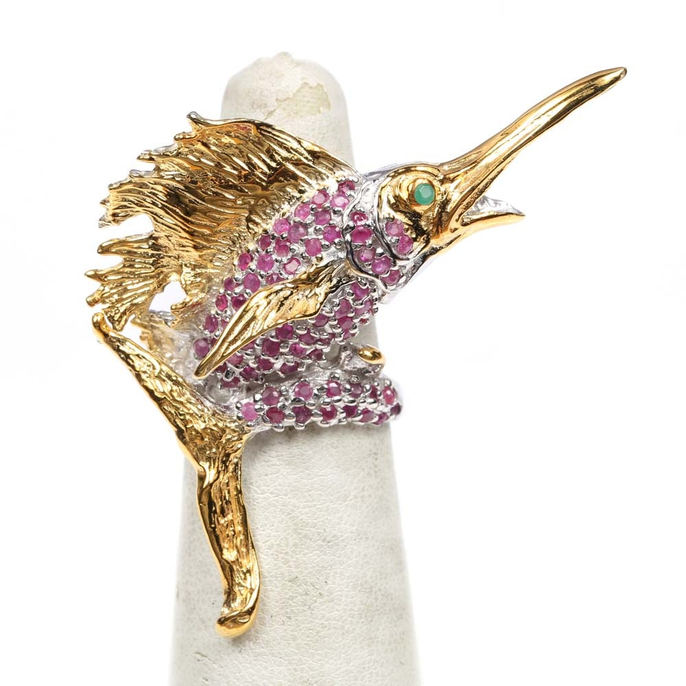 Sterling Silver Ruby and Emerald Swordfish Ring with Gold Wash Accents