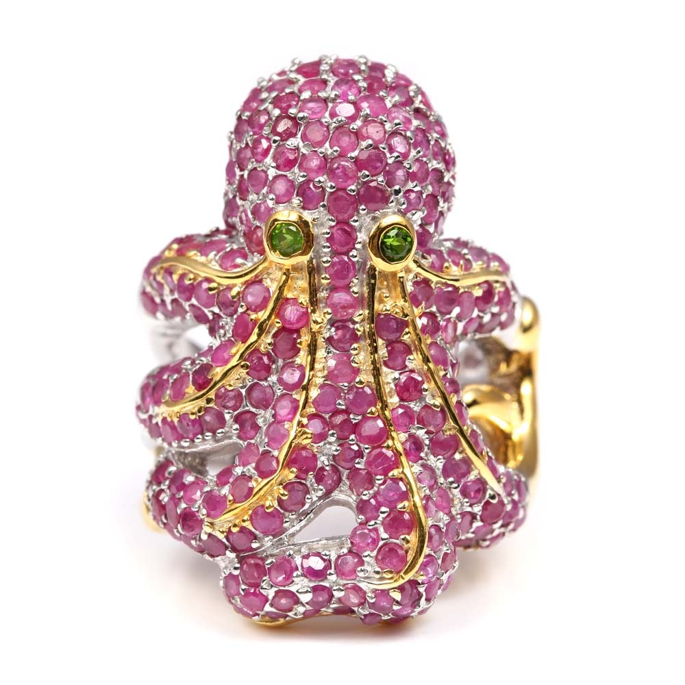 Sterling Silver 9.52 CTW Ruby Octopus Ring with Gold Wash Accents, Emerald Eyes