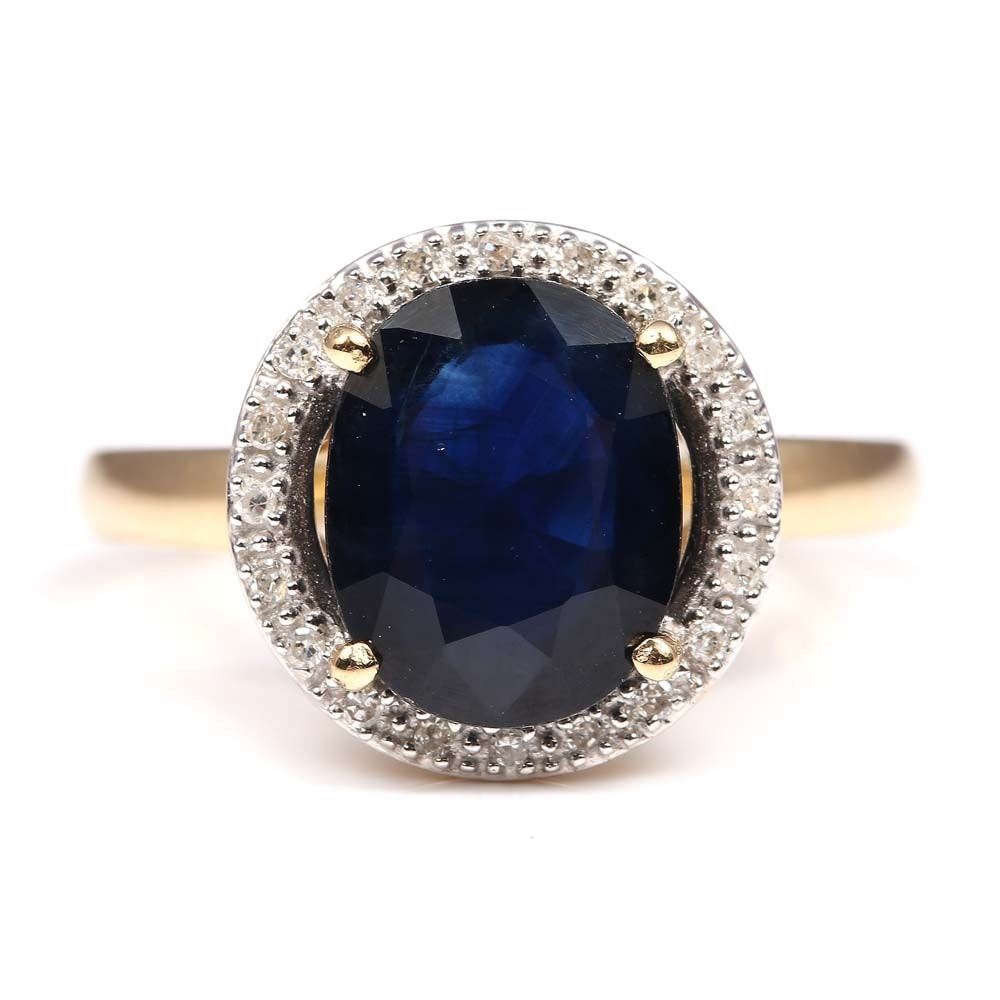 14K Yellow Gold 3.43 CT Sapphire and Diamond Halo Ring