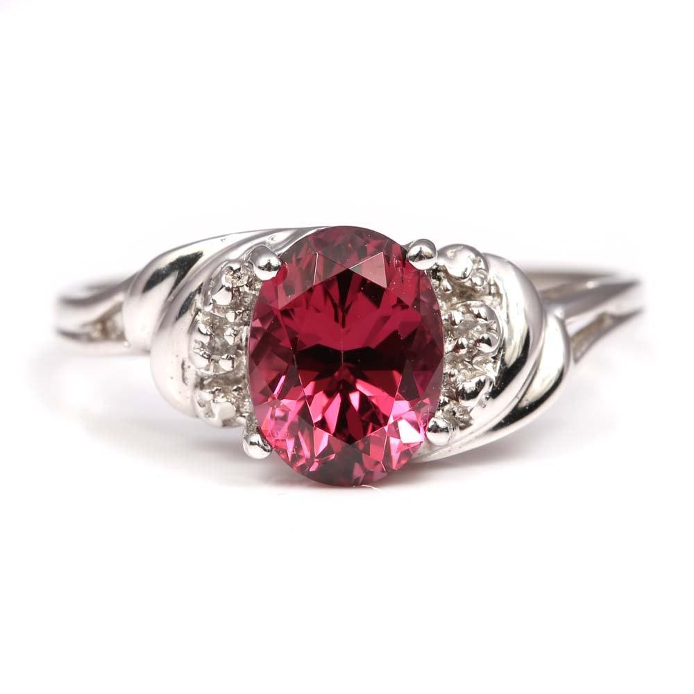 10K White Gold 1.78 CT Garnet and Diamond Ring