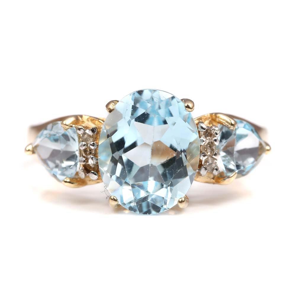 10K Yellow Gold 4.20 CTW Blue Topaz and Diamond Ring