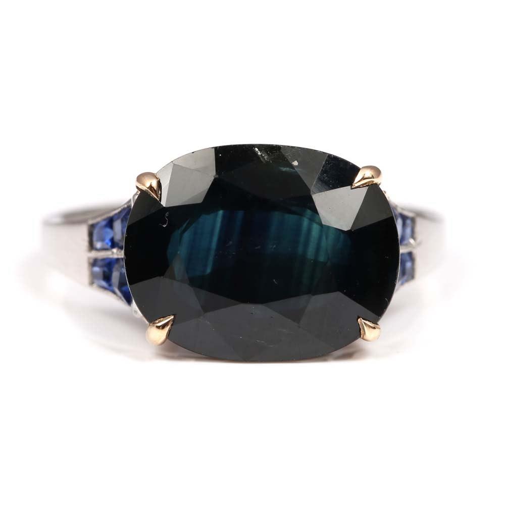 Platinum and 18K Yellow Gold 6.40 CT Sapphire Ring