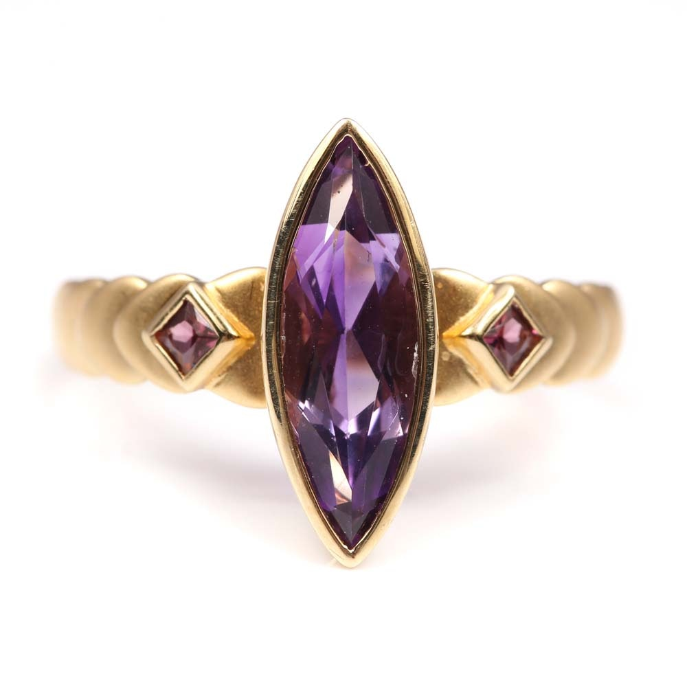 14K Yellow Gold 1.18 CT Amethyst and Garnet Ring