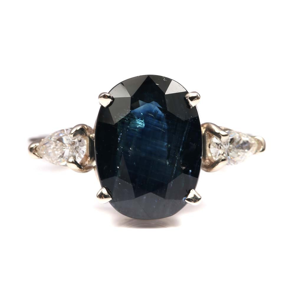 14K White Gold 5.69 CT Sapphire and Diamond Ring