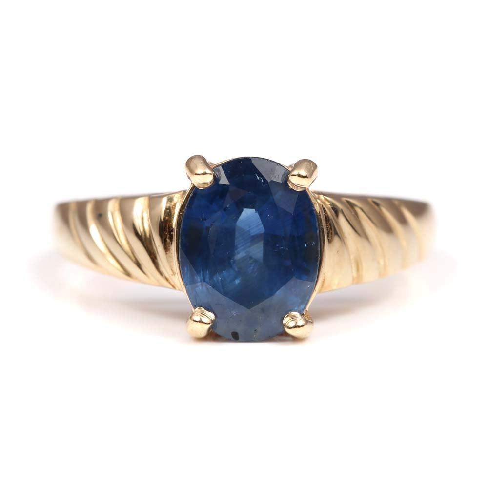 14K Yellow Gold 2.24 CT Sapphire Ring