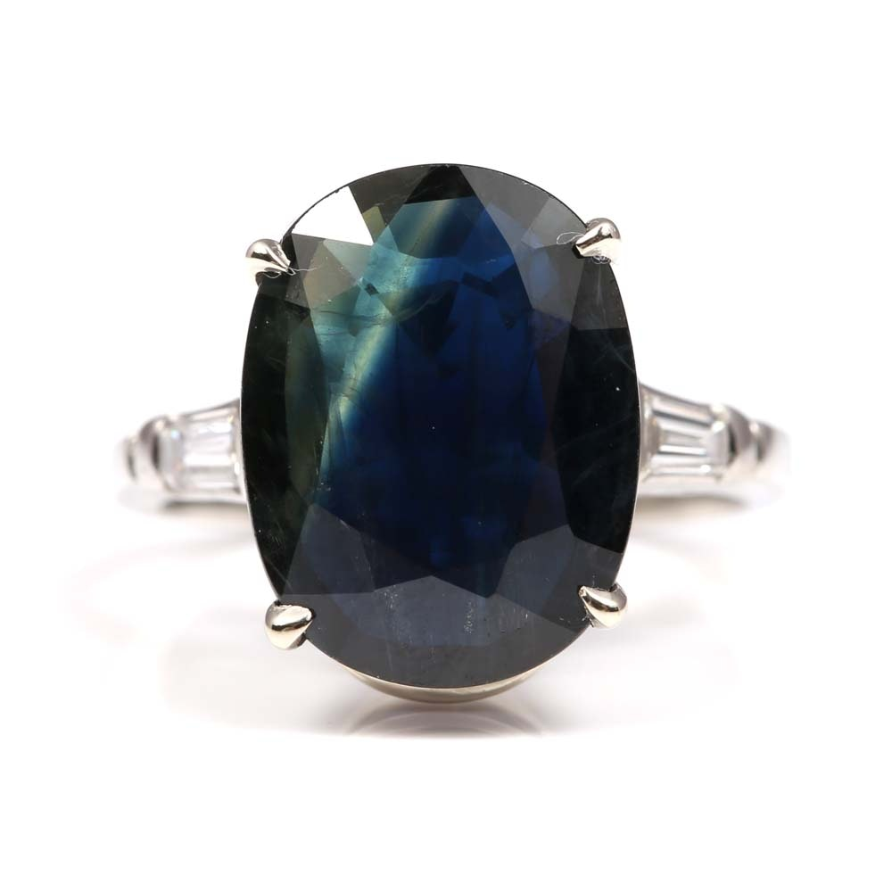 Platinum 6.33 CT Sapphire and Diamond Ring