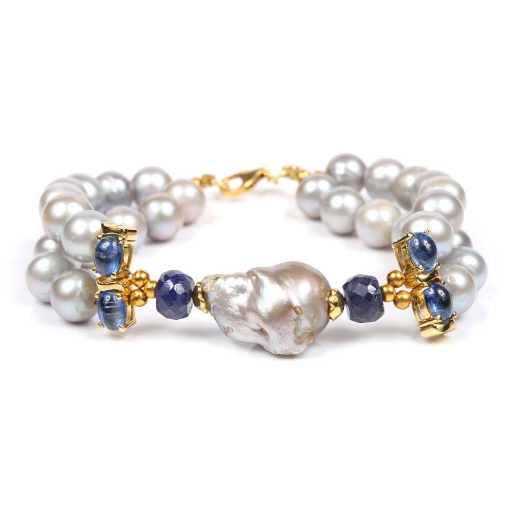 Sterling Silver 6.20 CTW Sapphire and Freshwater Pearl Bracelet
