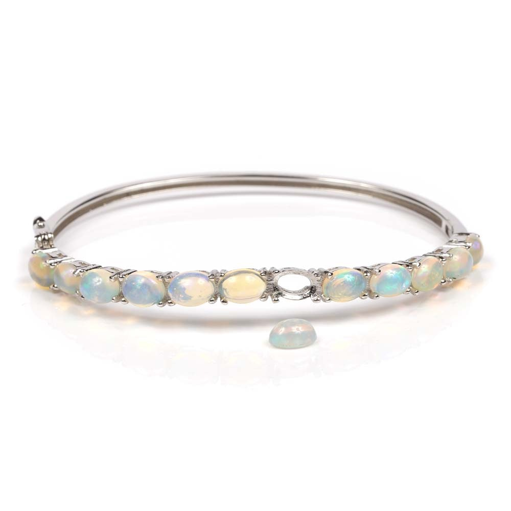Sterling Silver 9.00 CTW Opal Bangle Bracelet