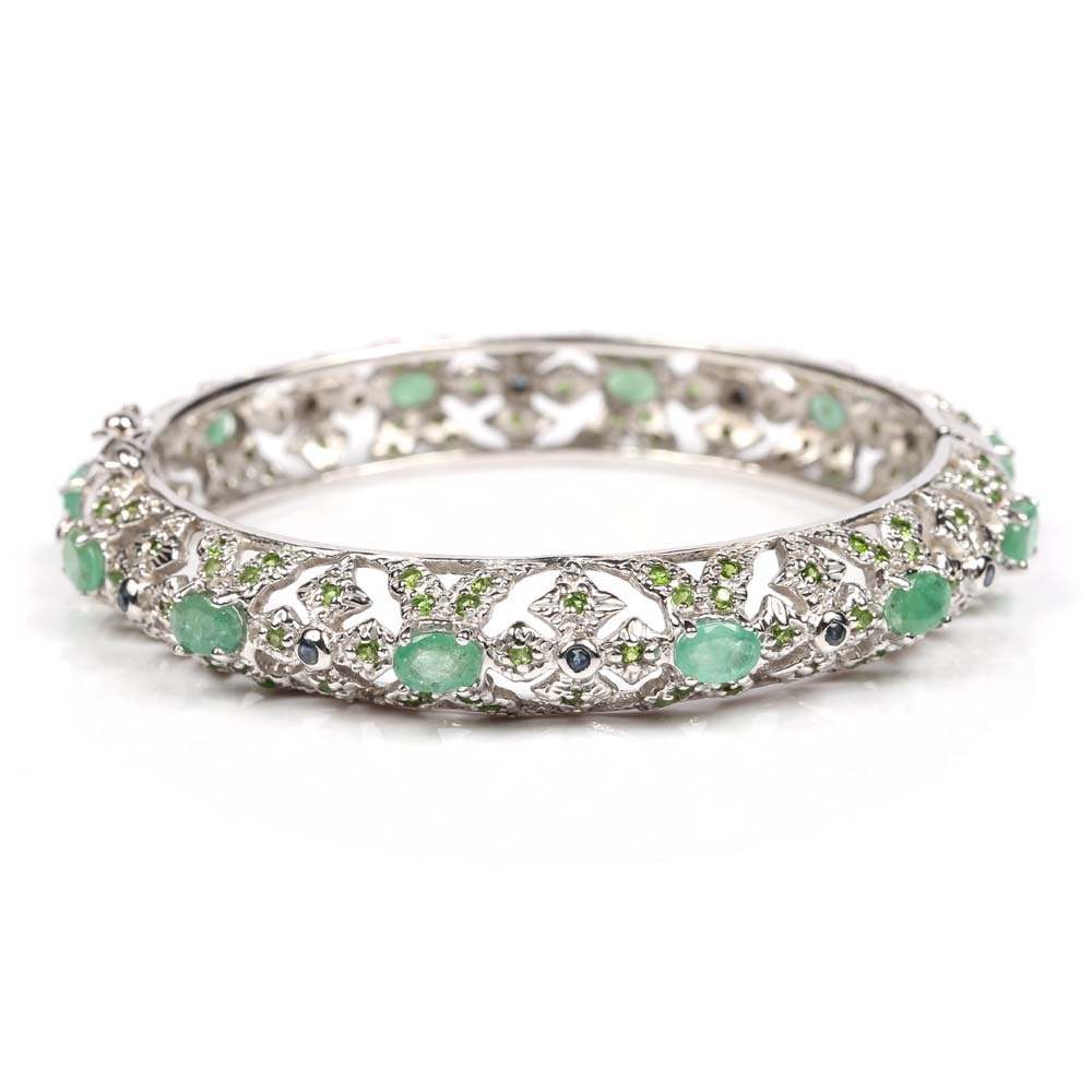Sterling Silver 5.16 CTW Emerald and Peridot Bangle Bracelet