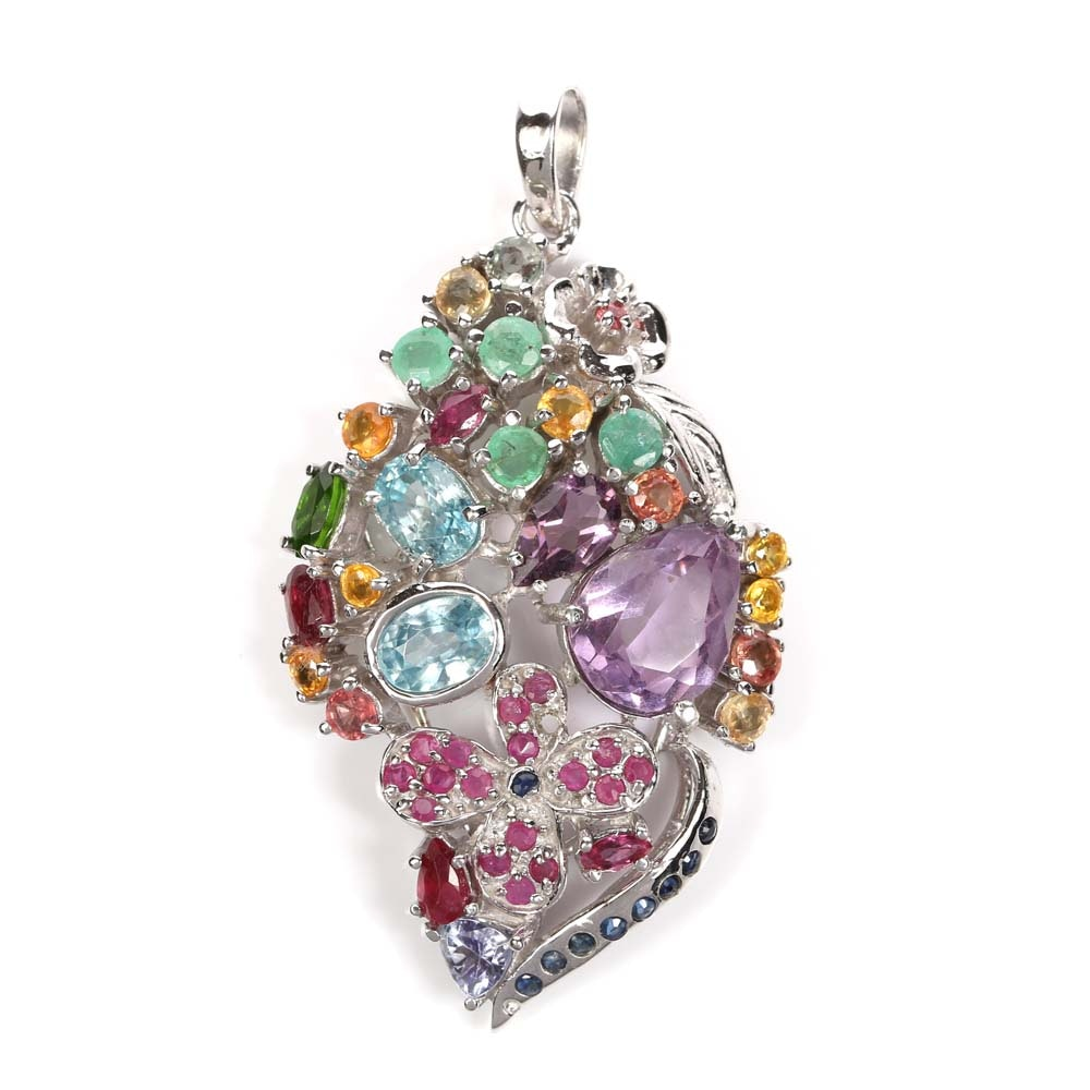Sterling Silver 3.86 CTW Amethyst and Multi-Gemstone Pendant