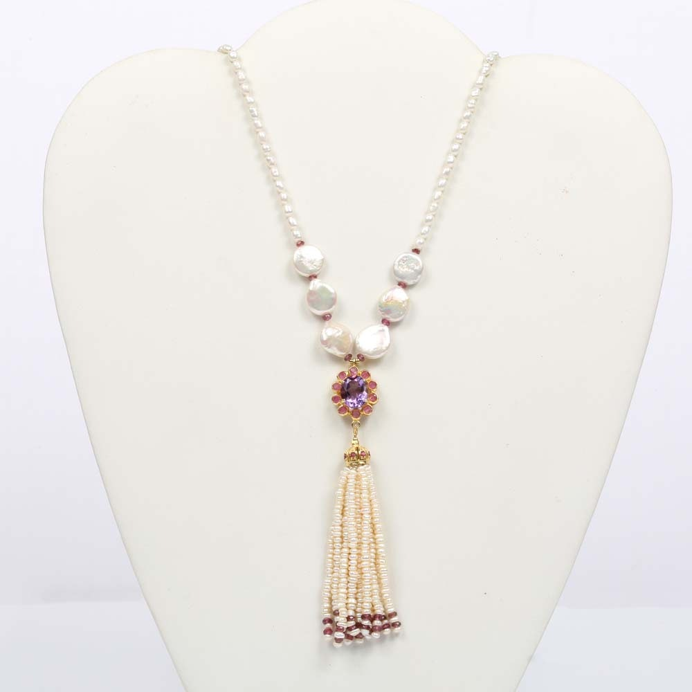 Sterling Silver Freshwater Pearl and Multi-Gemstone Necklace
