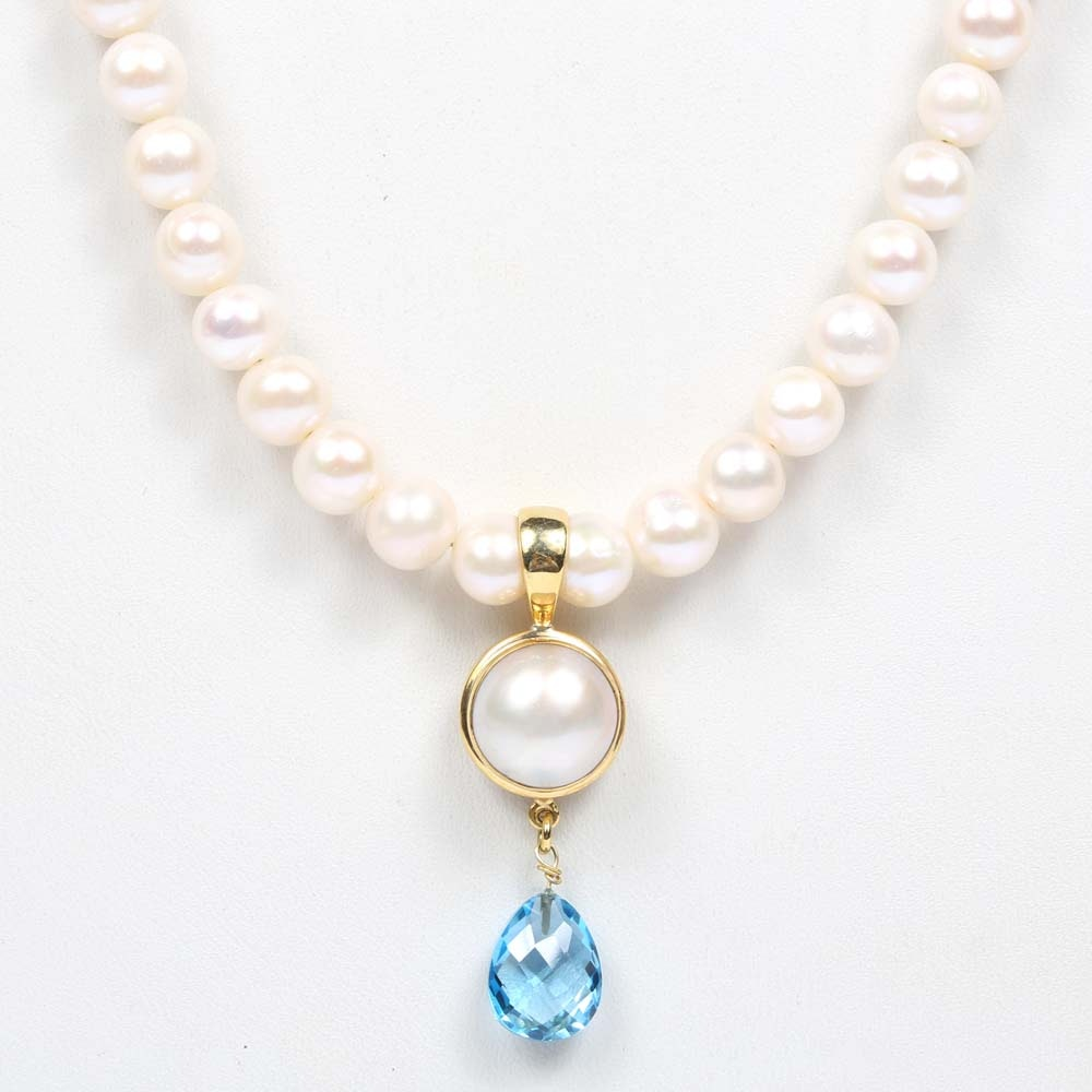 Sterling Silver 3.50 CT Blue Topaz and  Freshwater Pearl Necklace