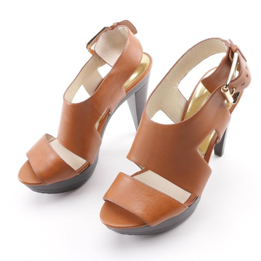 32699ed92324 MICHAEL Michael Kors Carla Brown Vachetta Leather Platform Sandals   EBTH