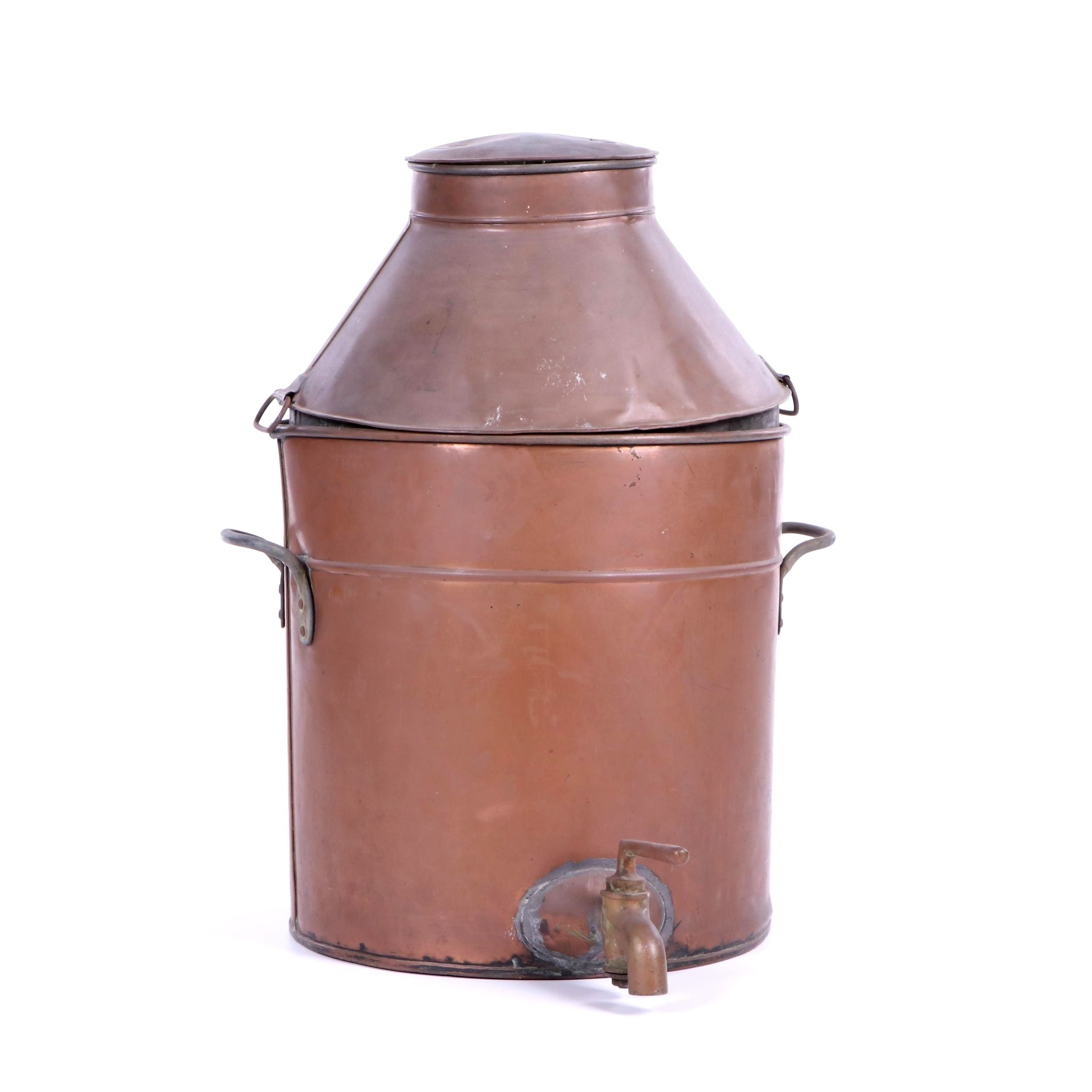 Vintage Tin-Lined Copper Water Dispenser with Brass Fittings