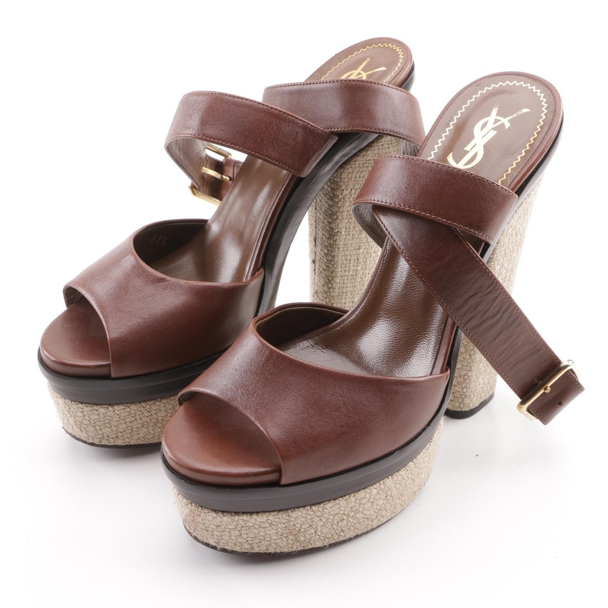 2bf56f1a8ed8 Yves Saint Laurent Brown Leather Espadrille Platform Sandals