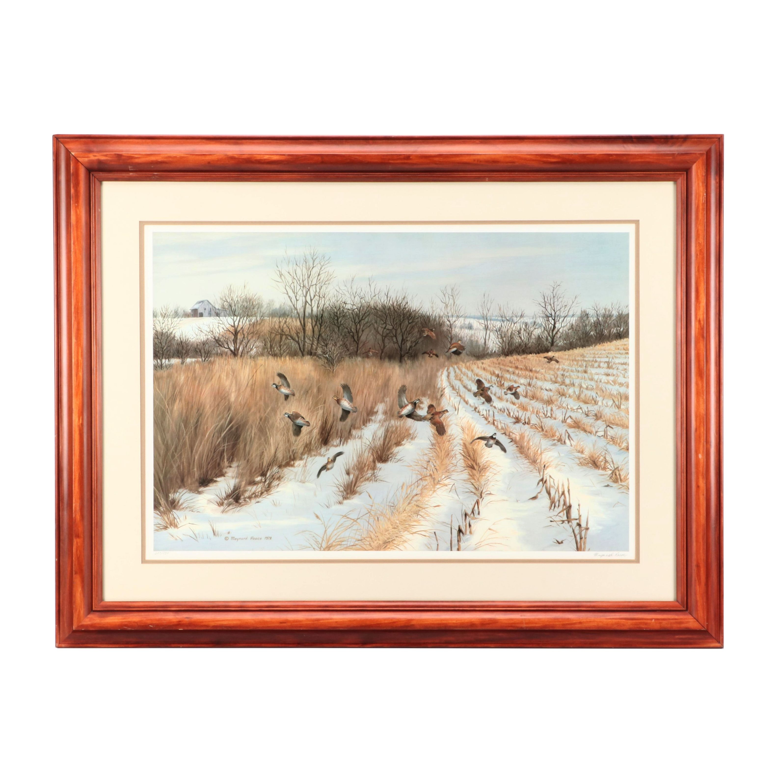 """Maynard Reece 1973 Limited Edition Offset Lithograph """"Quail Country"""""""