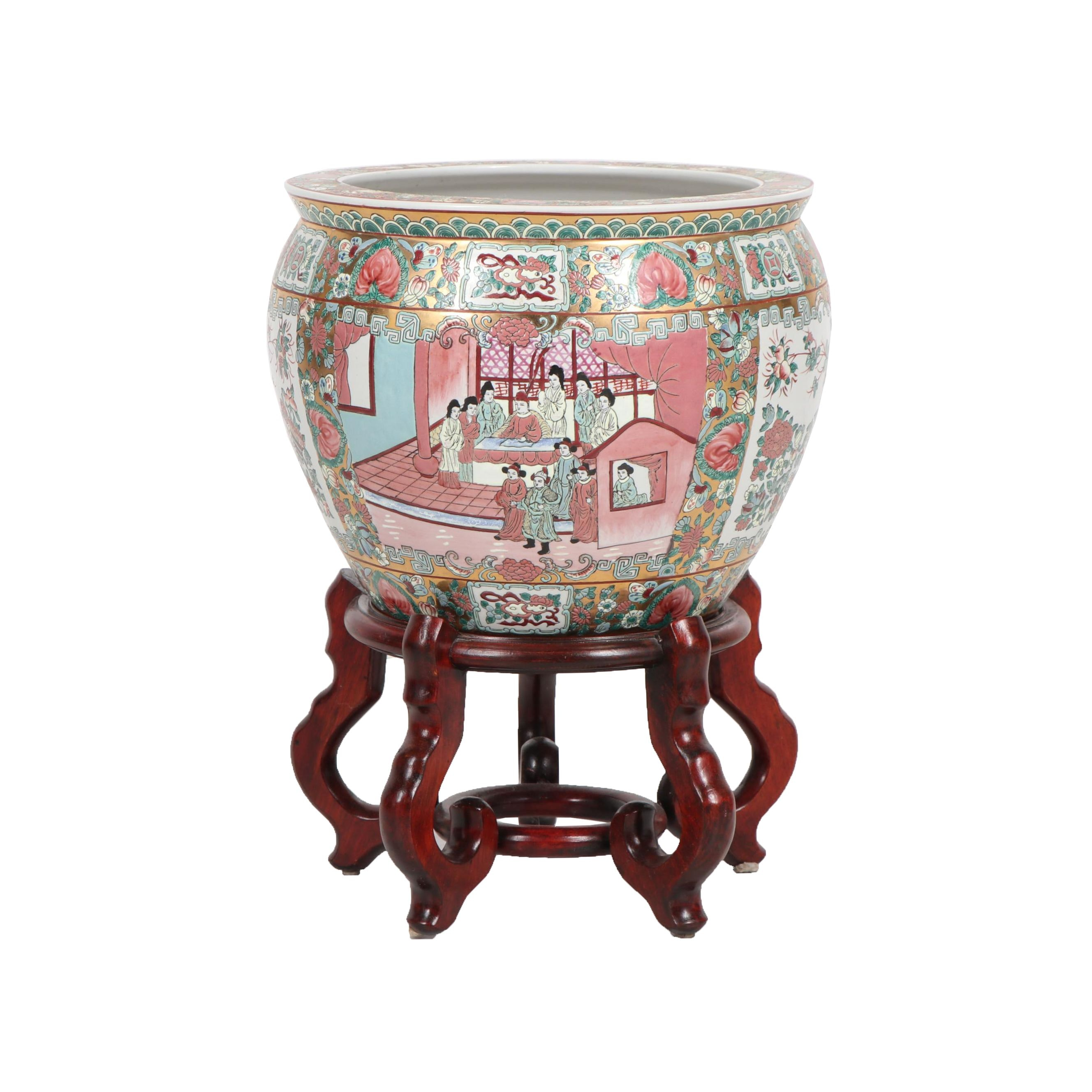 "Chinese ""Rose Medallion"" Fish Bowl Planter with Wooden Stand"