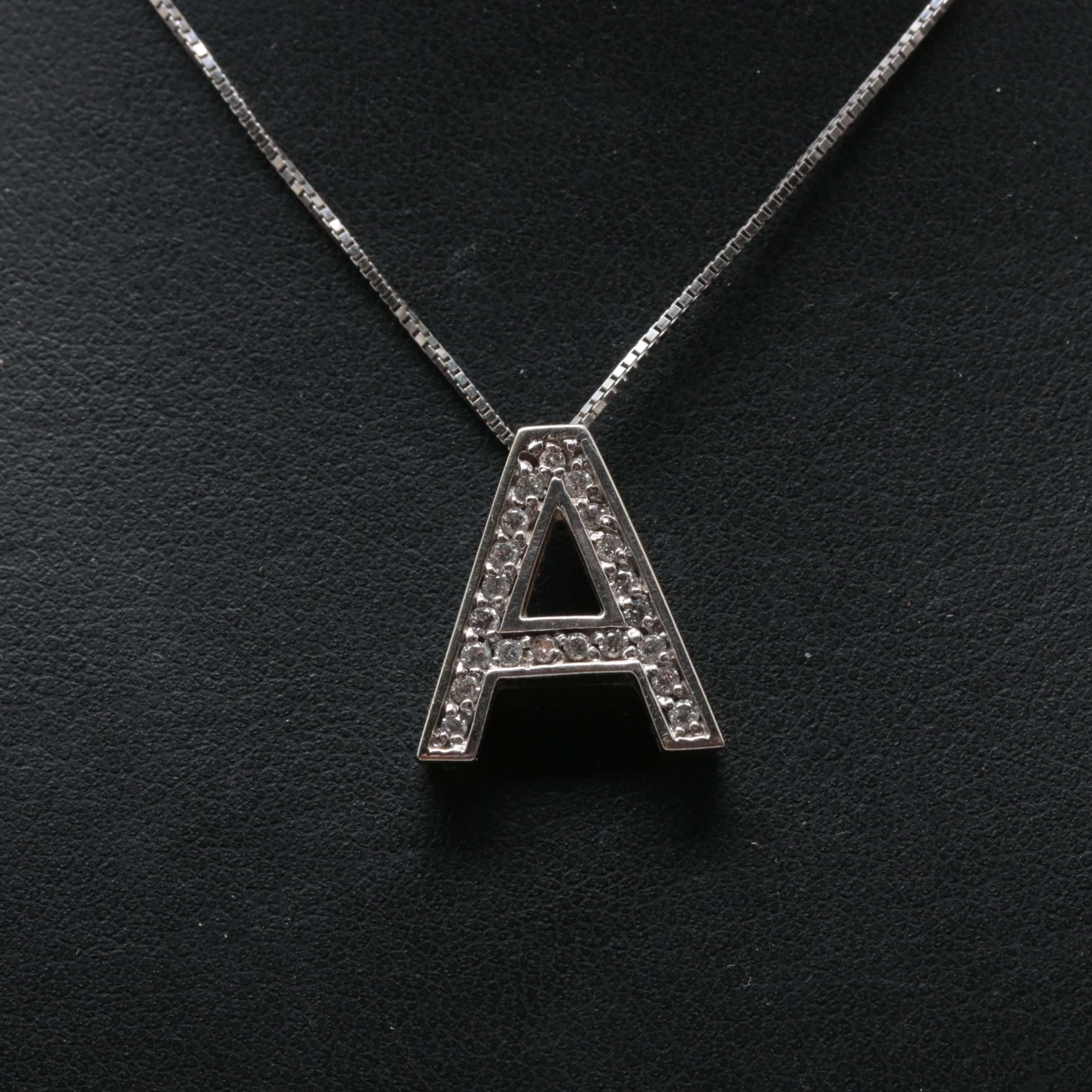 "14K White Gold Diamond Letter ""A"" Necklace"