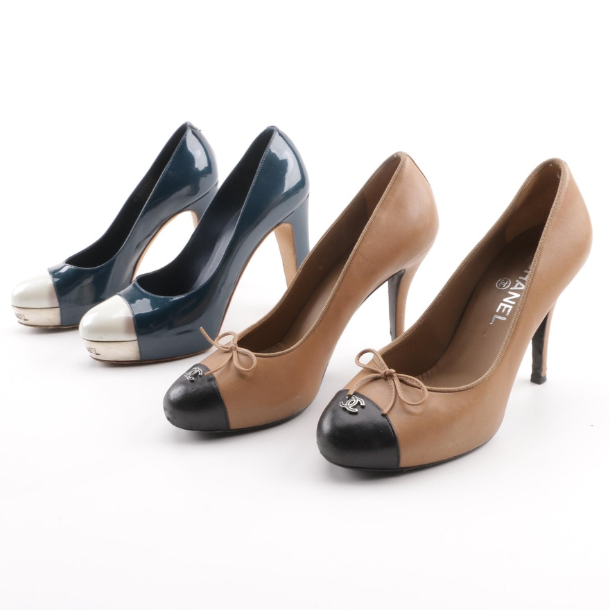 9025236b05fc Chanel CC Cap Toe Leather Pumps   EBTH
