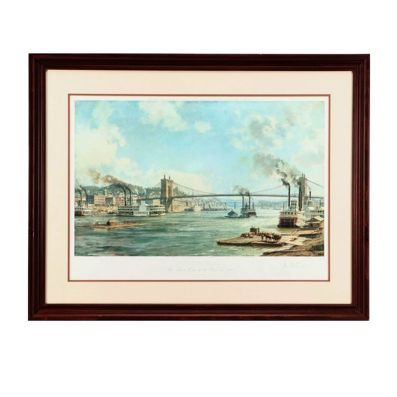 "John Stobart Limited Edition Offset Lithograph ""Cincinnati: The 'Queen City...'"""