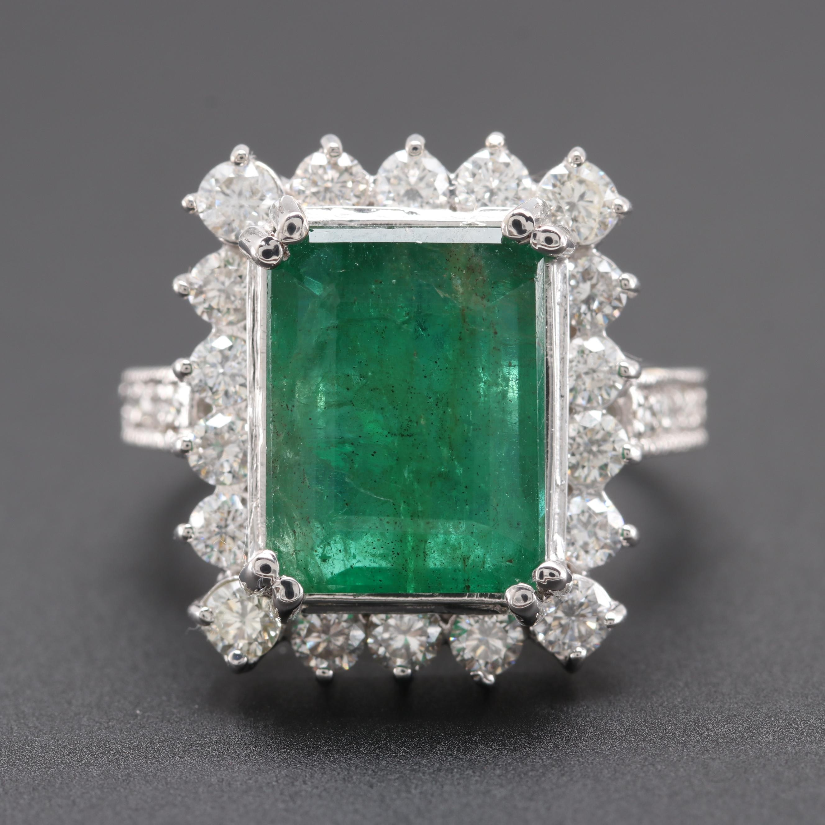 18K White Gold 4.04 CT Emerald and 1.33 CTW Diamond Ring