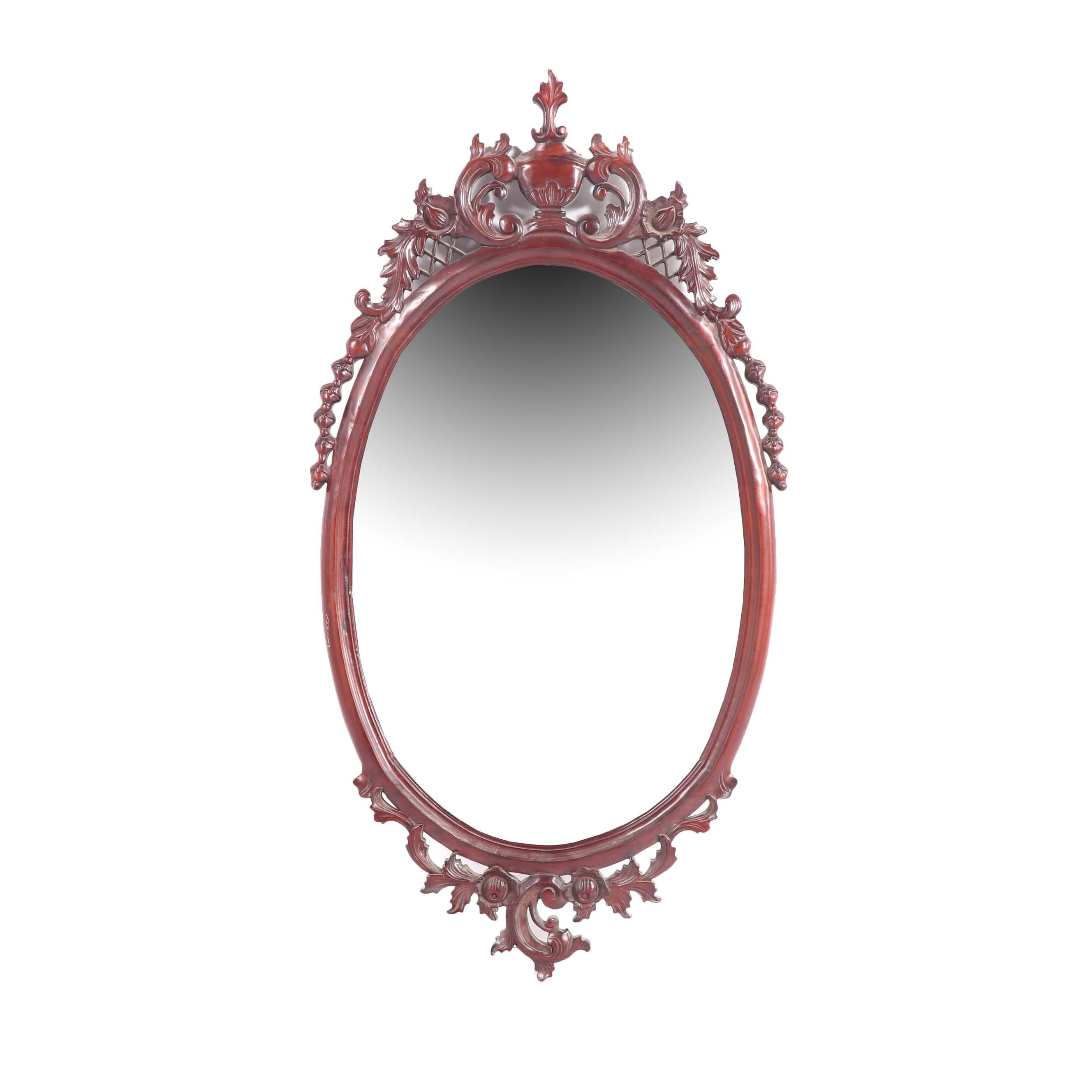 Rococo Revival Style Beveled Oval Wall Mirror