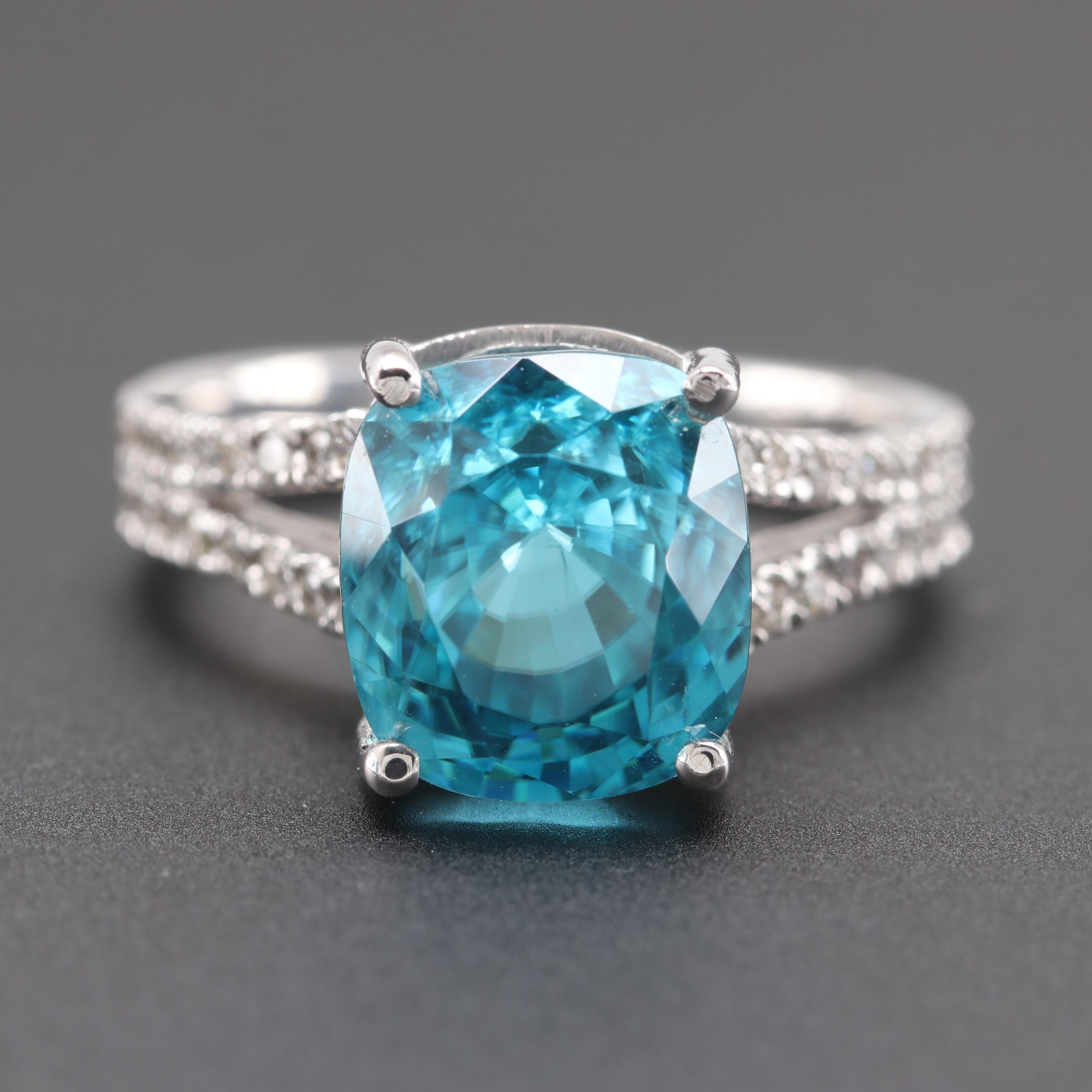 14K White Gold 7.18 CT Blue Zircon and Diamond Ring