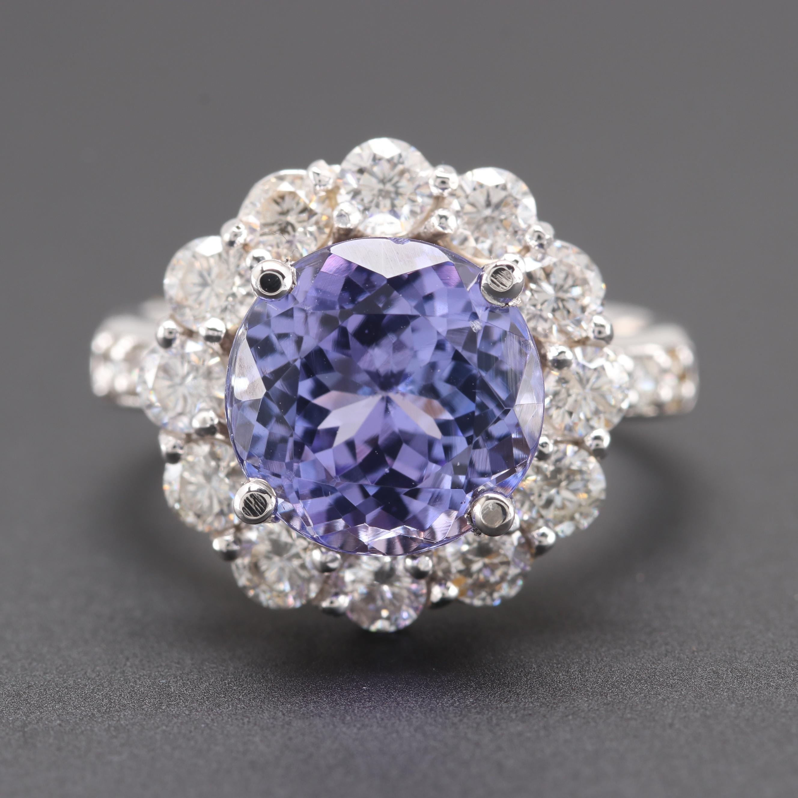 14K White Gold 4.50 CT Tanzanite and 1.96 CTW Diamond Ring
