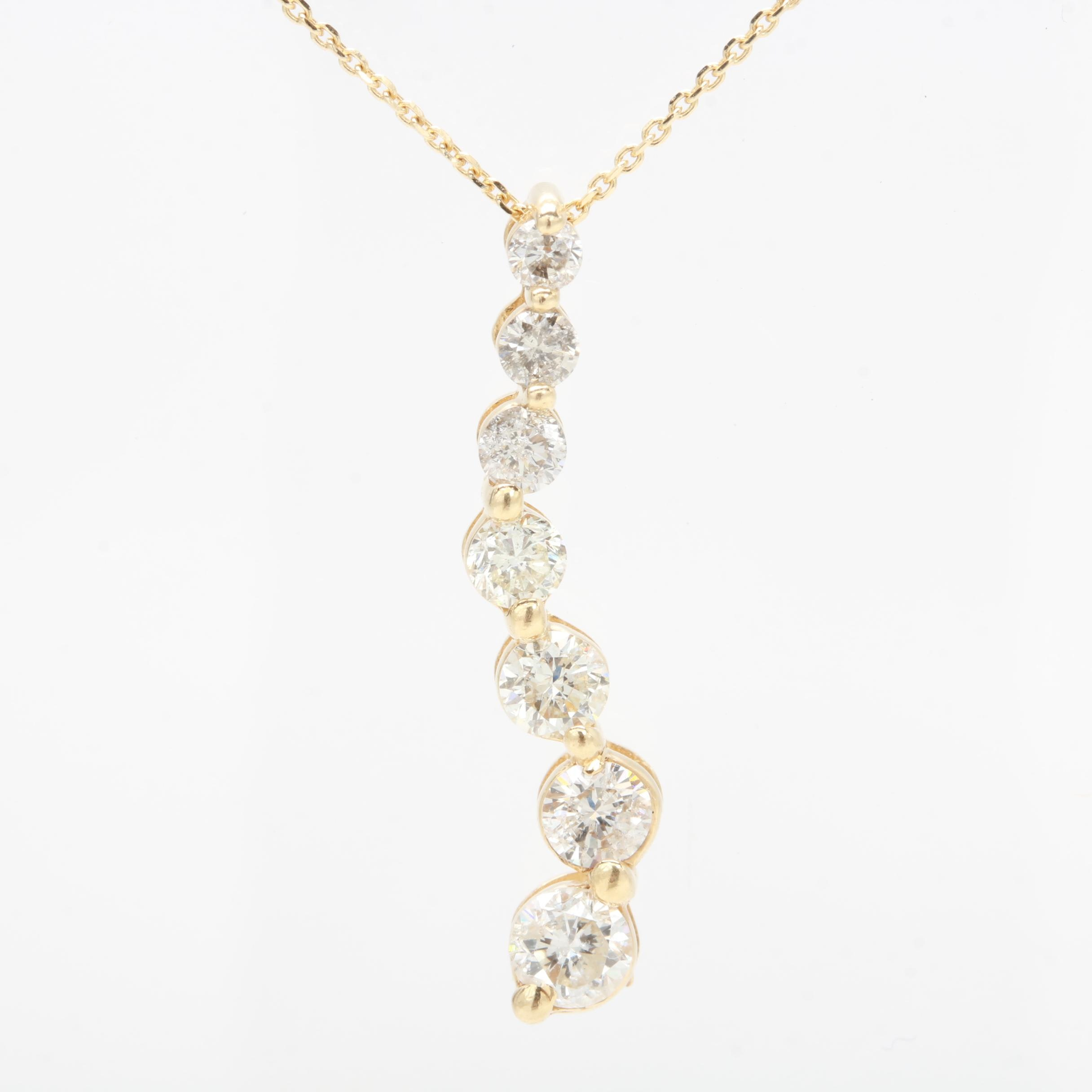 14K Yellow Gold Diamond Journey Pendant Necklace