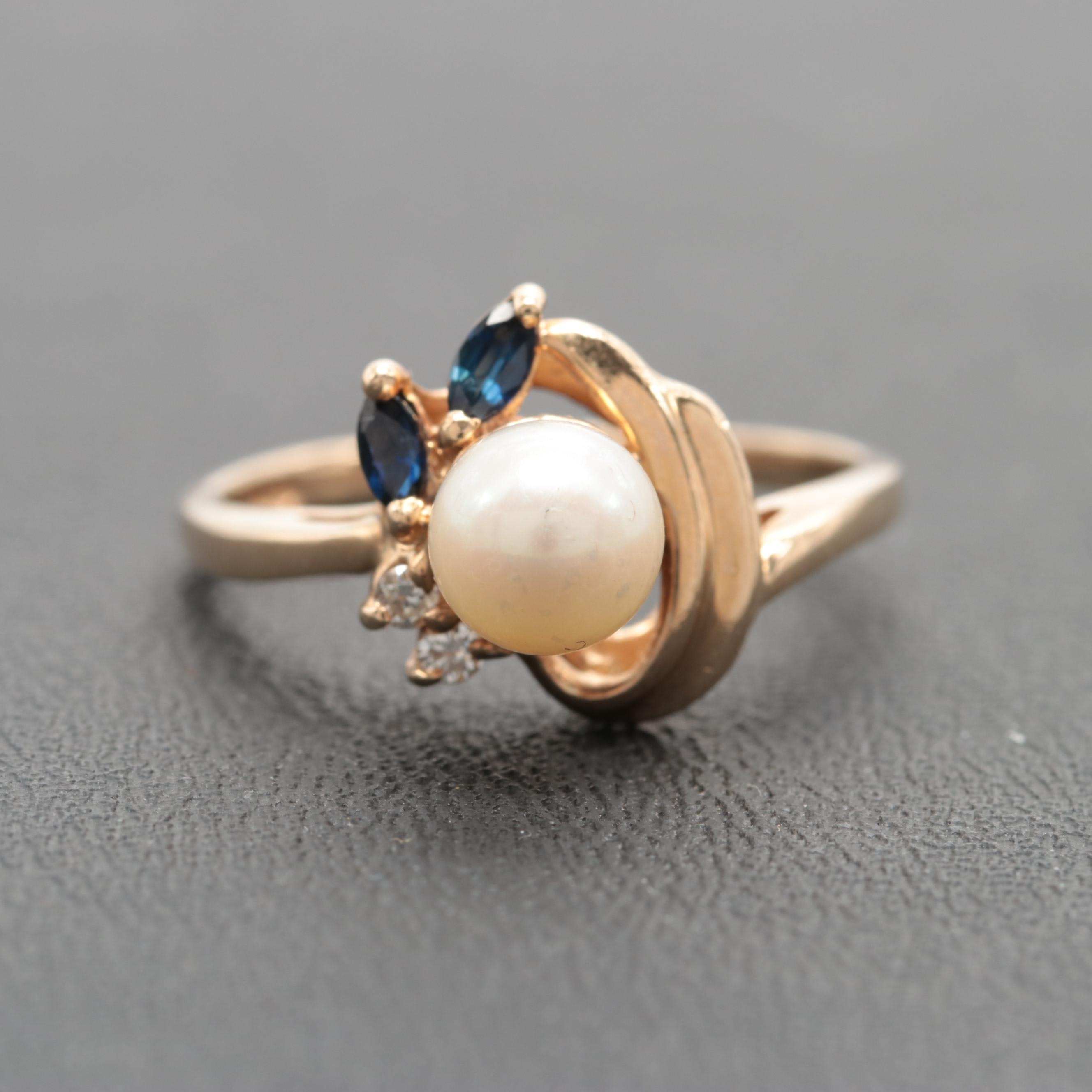 14K Yellow Gold Cultured Pearl, Blue Sapphire and Diamond Ring