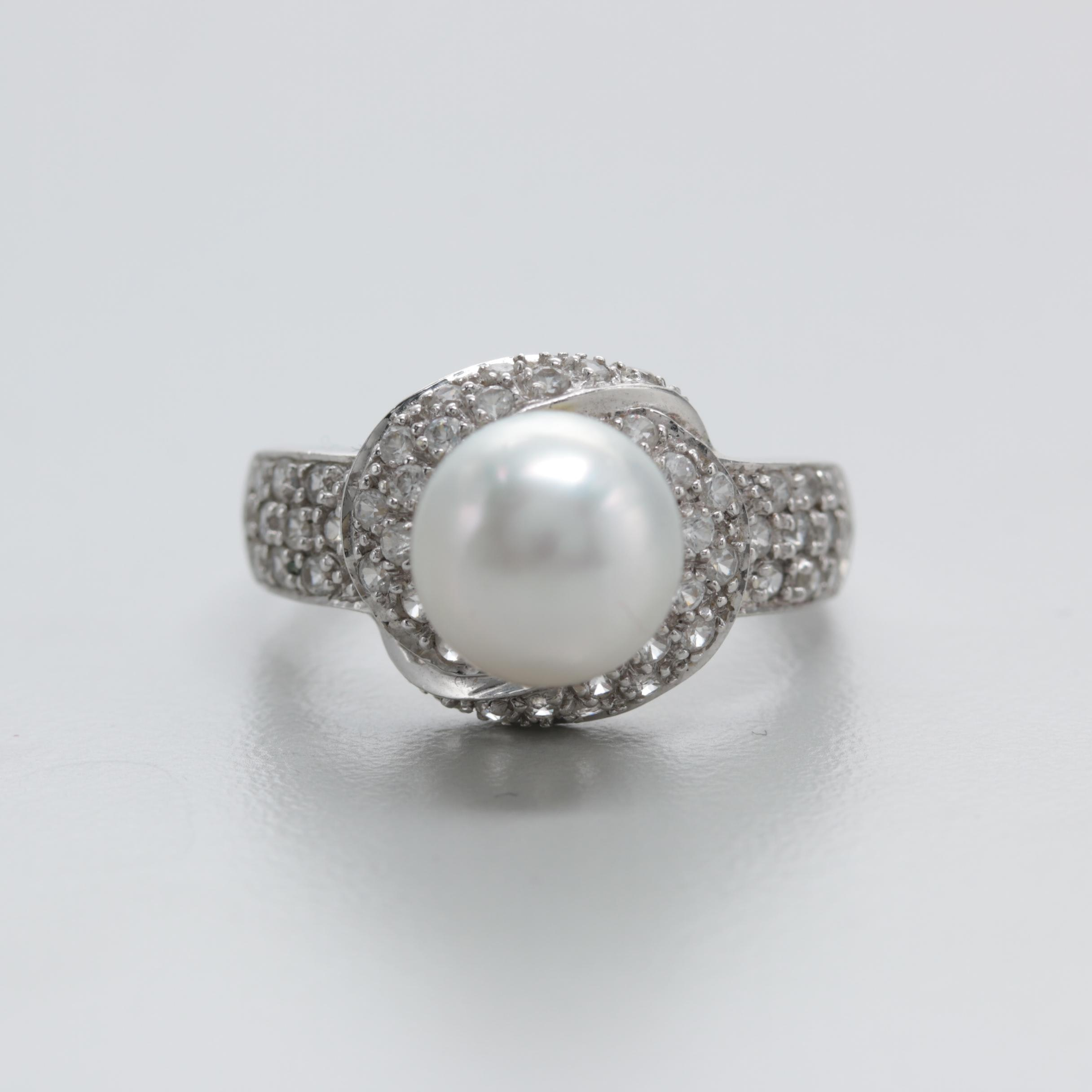 10K White Gold Cultured Pearl and White Topaz Ring