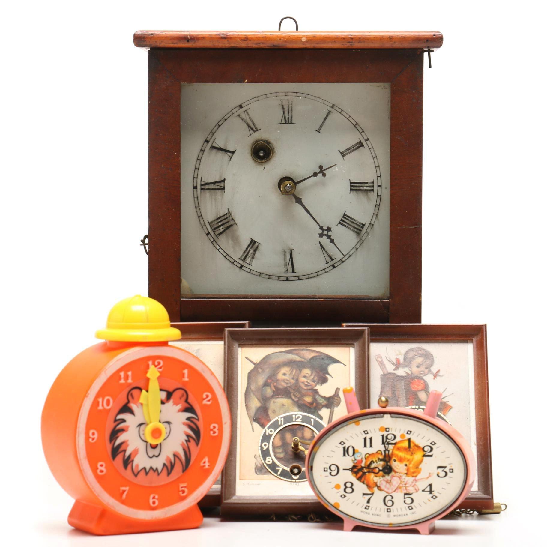 Antique Waterbury Cottage Clock and Hummel Clocks