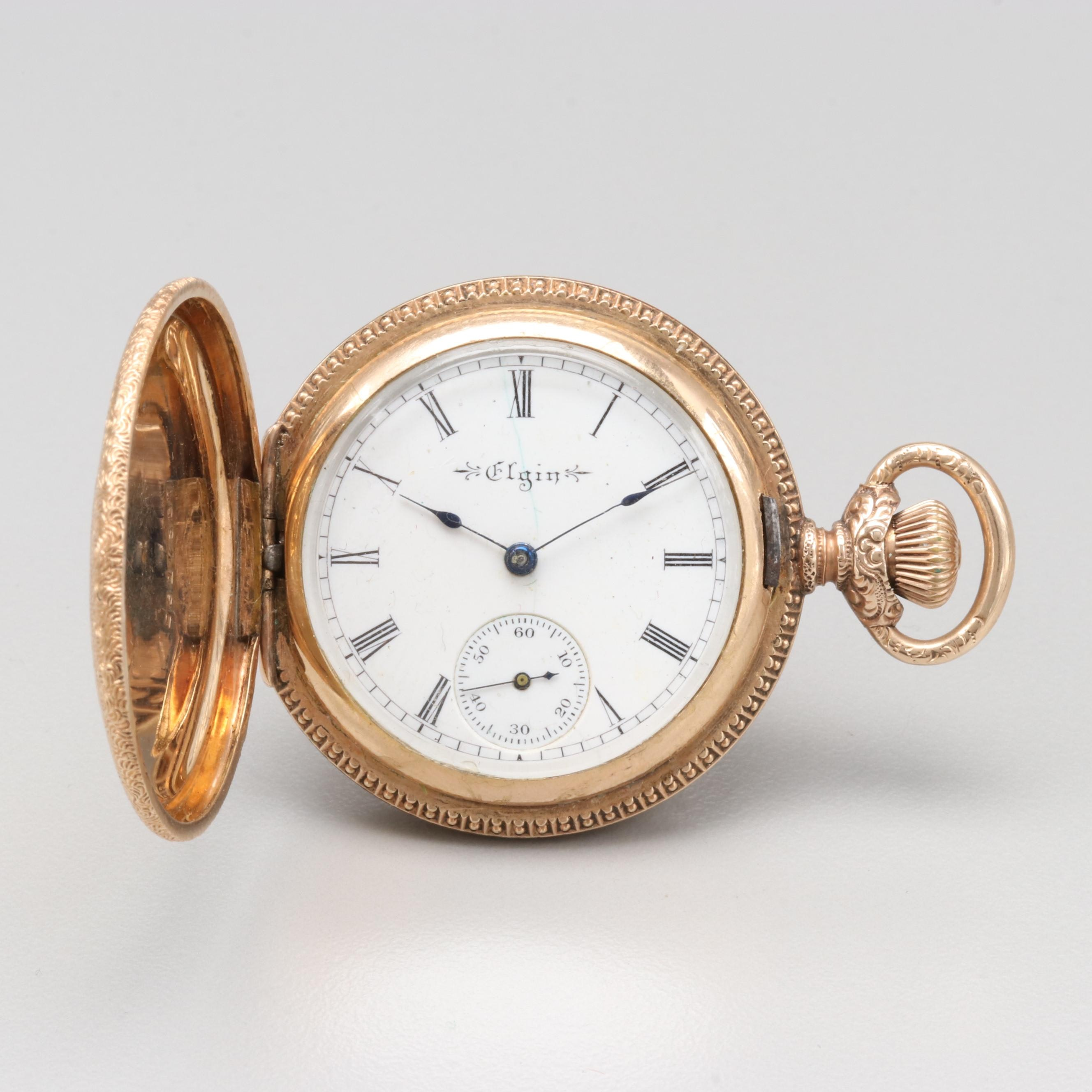 Elgin Gold Filled Hunting Case Pocket Watch Circa 1900