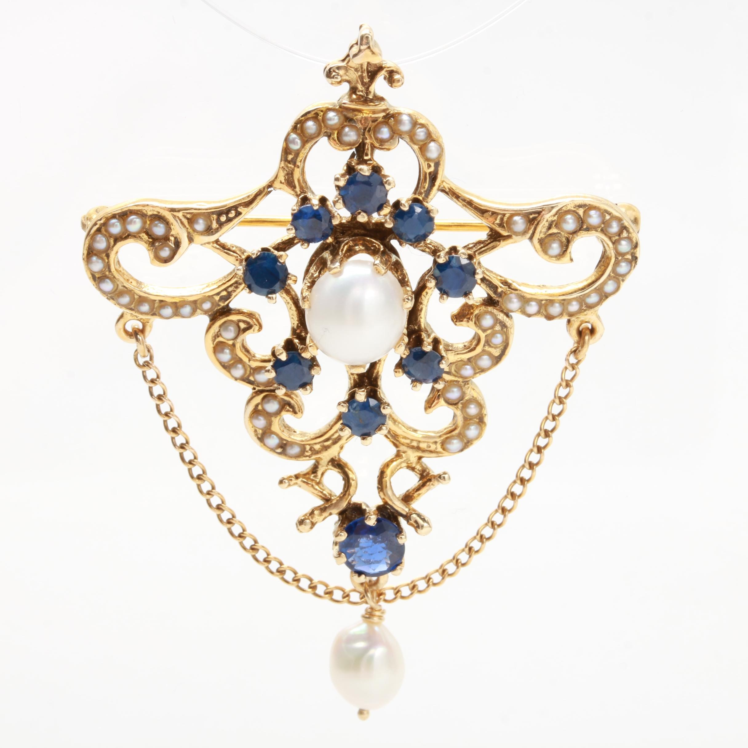 Victorian Revival Vintage 14K Gold Cultured Pearl Blue Sapphire Pendant Brooch