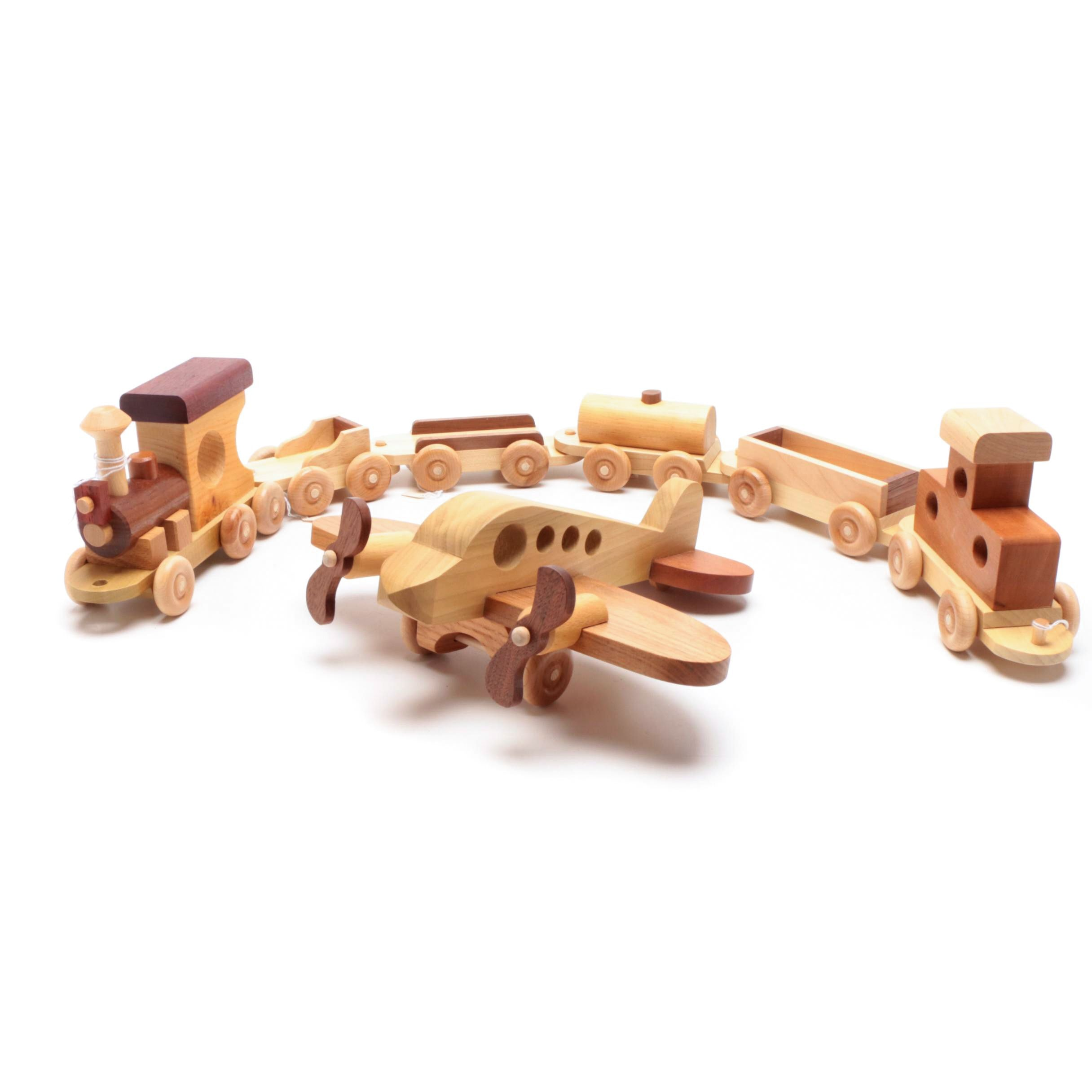 Maple Walnut and Cherry Toy Train and Plane by Hunt's Woodcraft