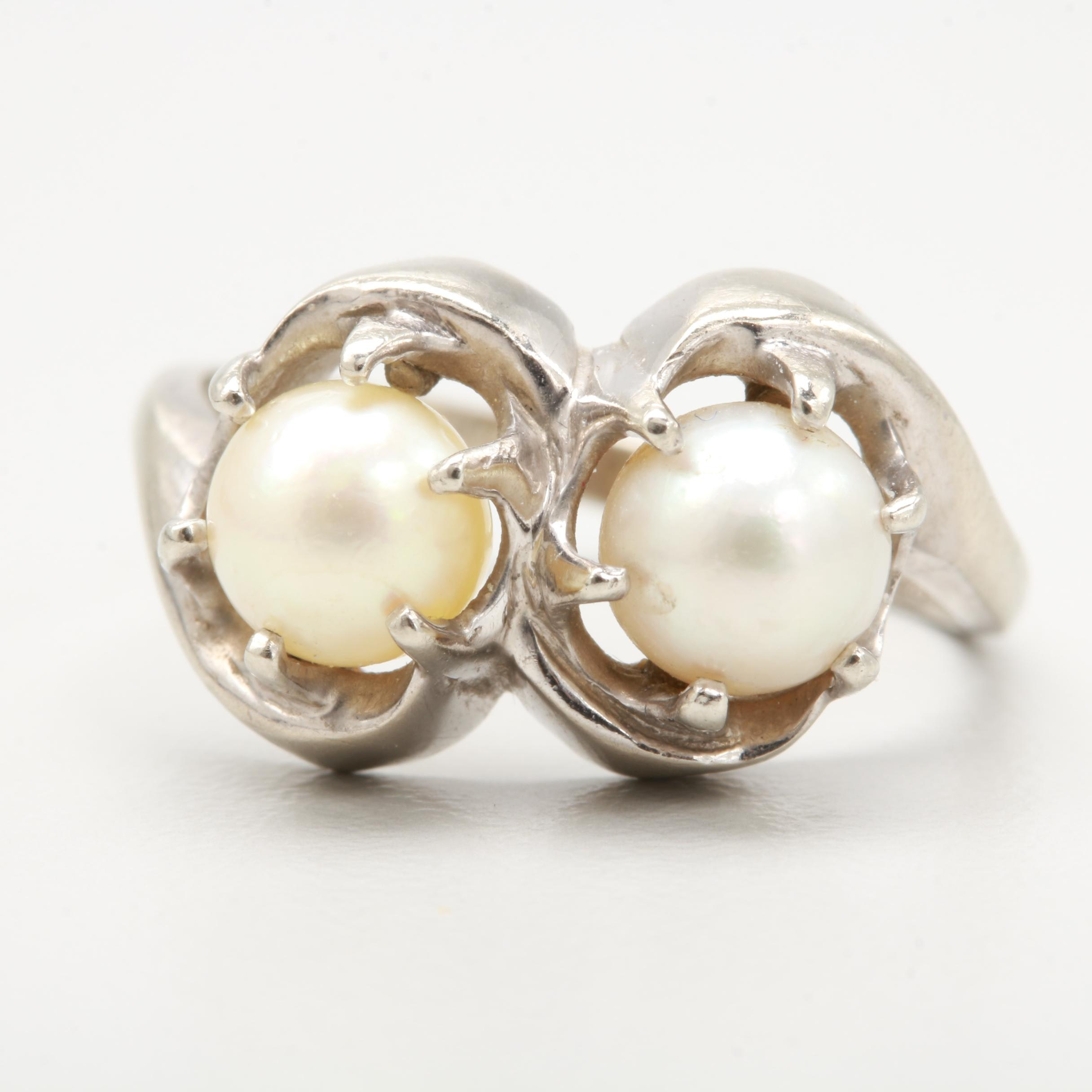 10K White Gold Cultured Pearl Ring
