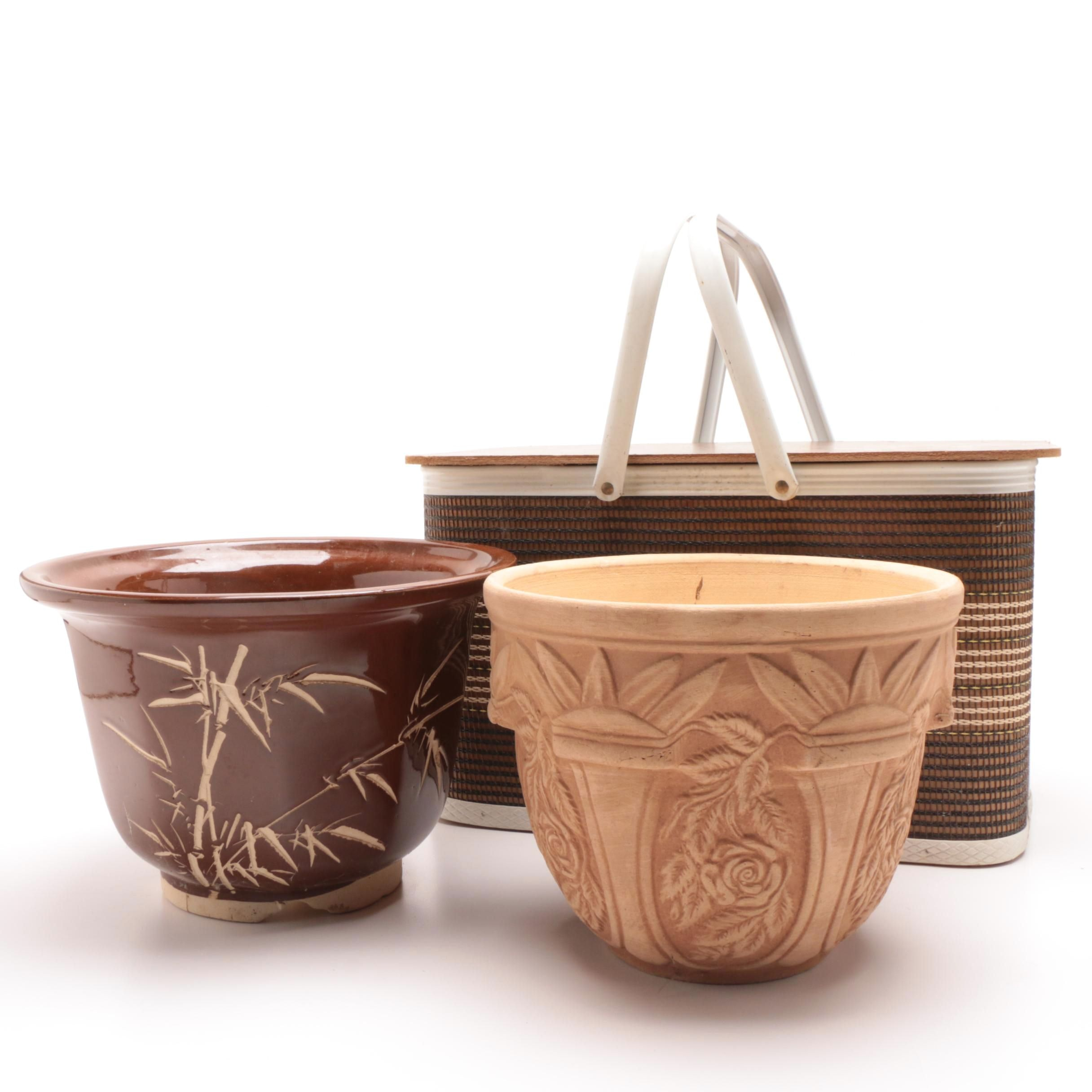 Ceramic Planters and Picnic Basket