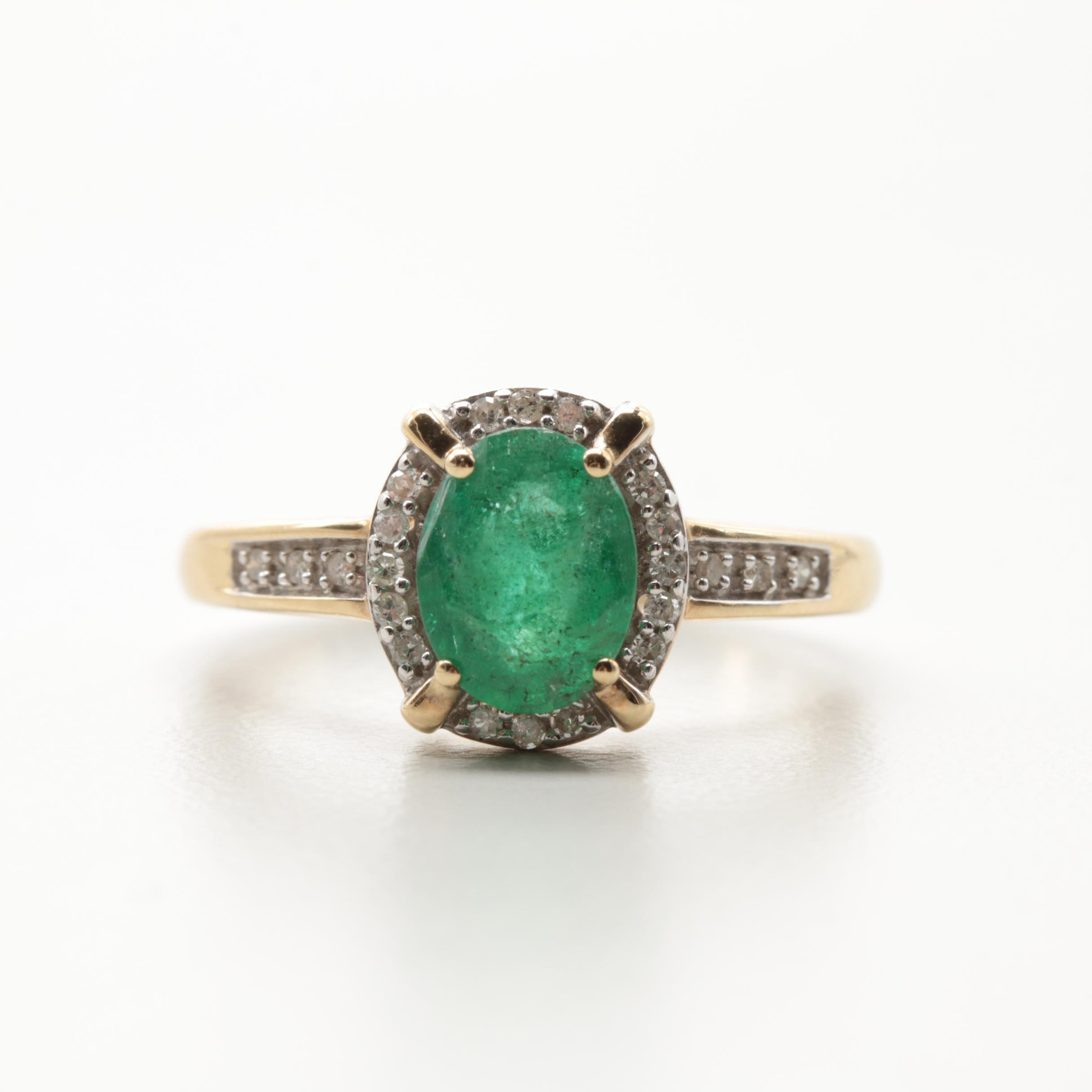 10K Yellow Gold 1.00 CT Emerald and Diamond Ring