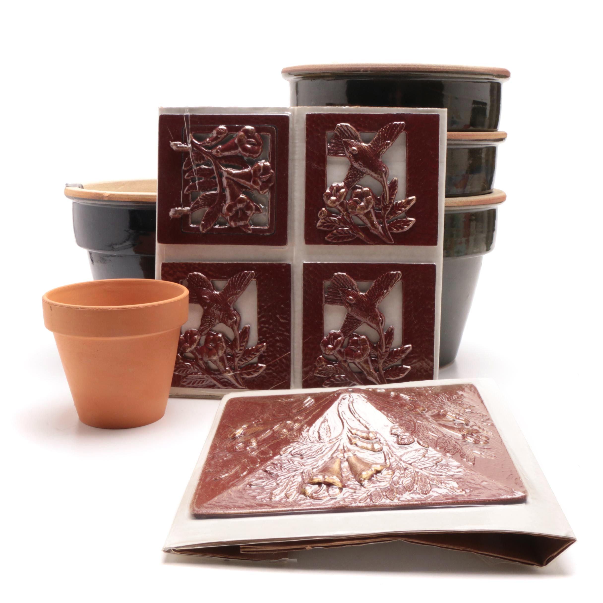 Ceramic Planters and Metal Lantern Kit