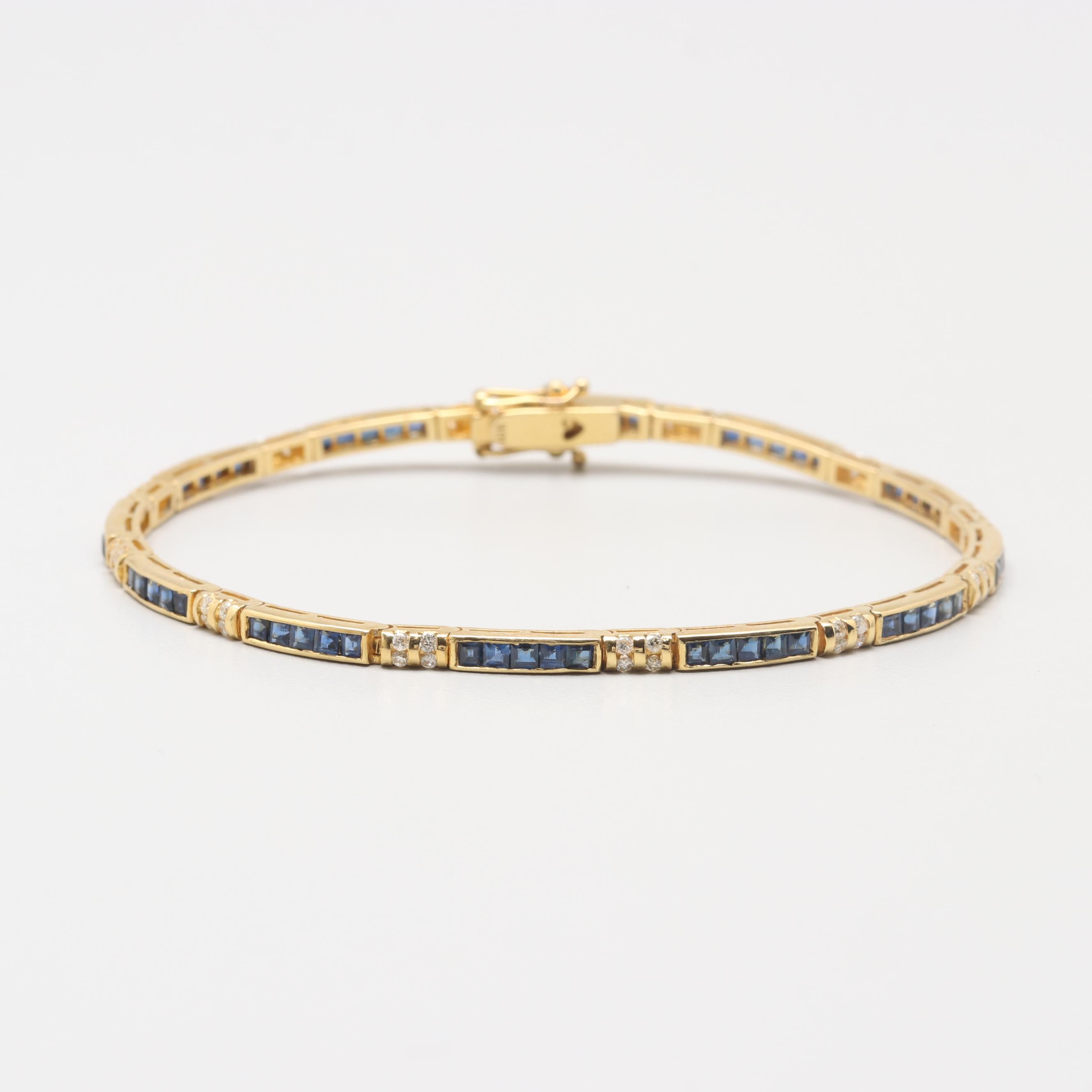 18K Yellow Gold Sapphire and Diamond Bracelet