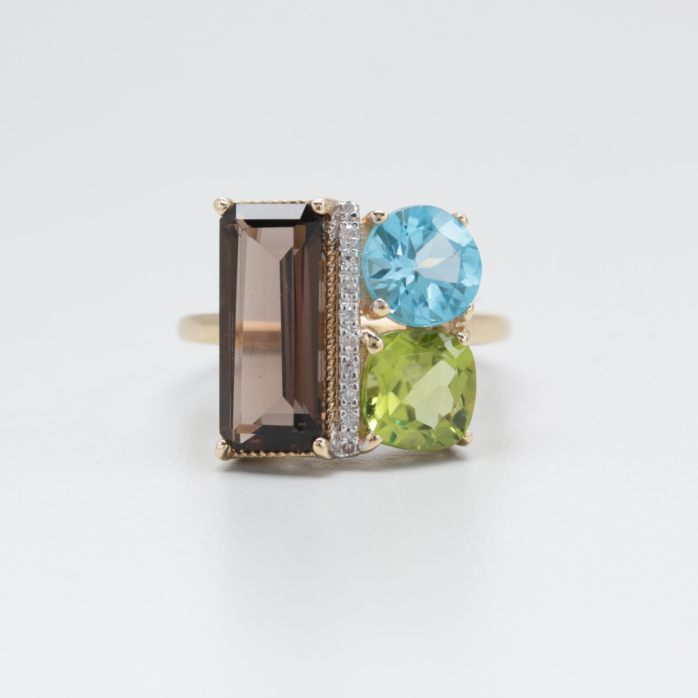 10K Yellow Gold Smoky Quartz, Blue Topaz, Peridot and Diamond Ring