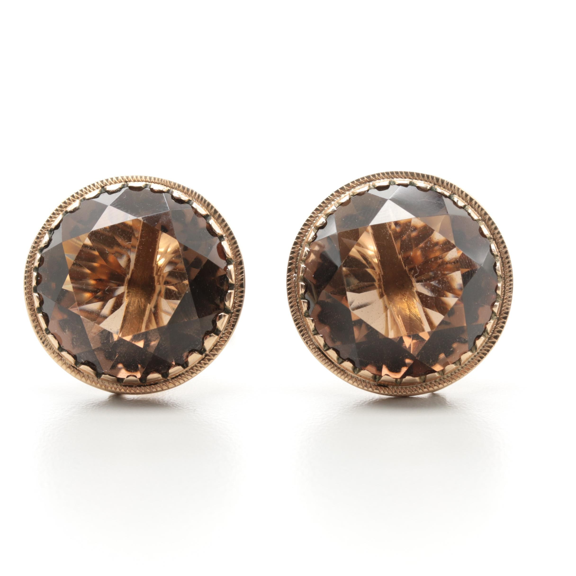 14K Yellow and Rose Gold Smoky Quartz Cufflinks