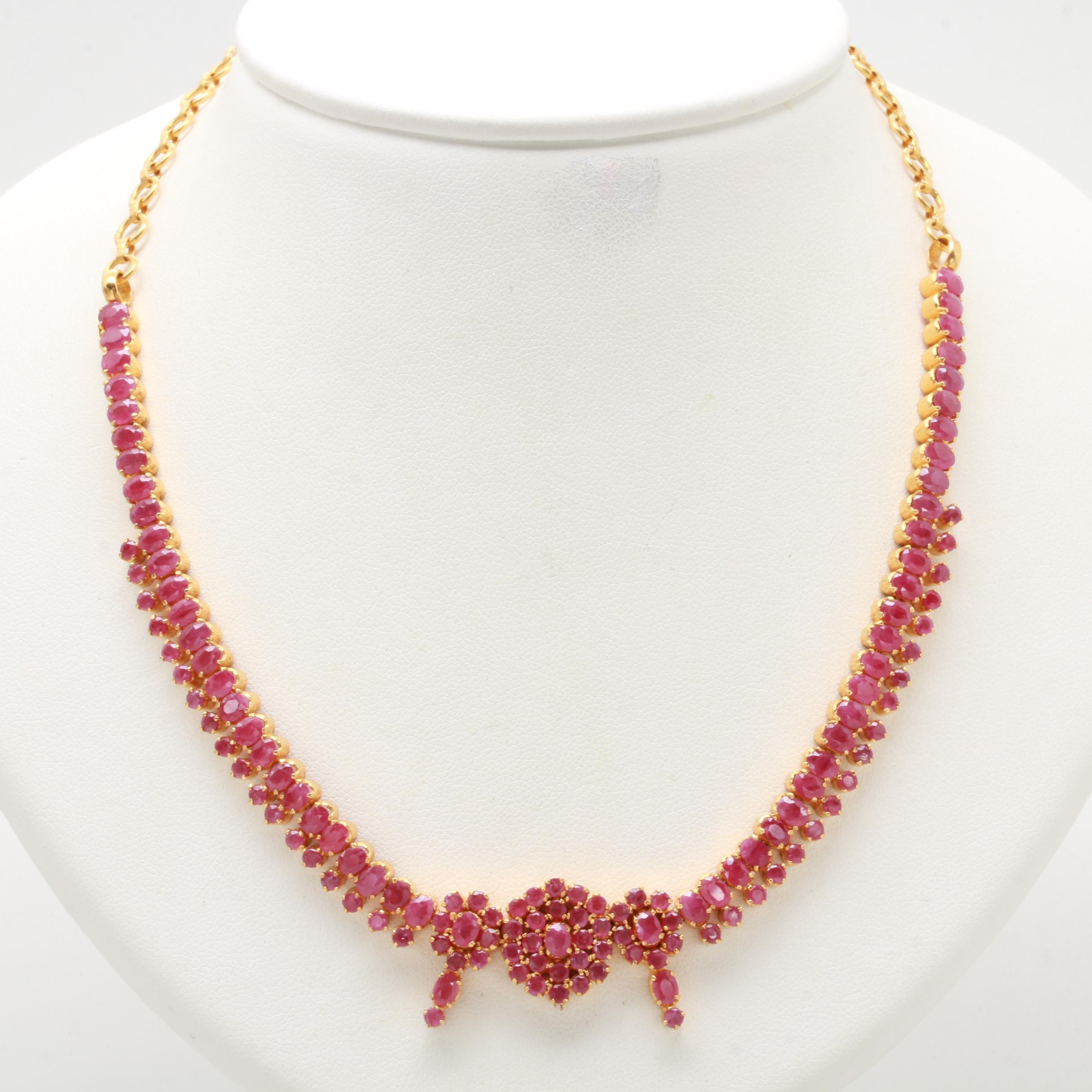 14K Yellow Gold Ruby Necklace