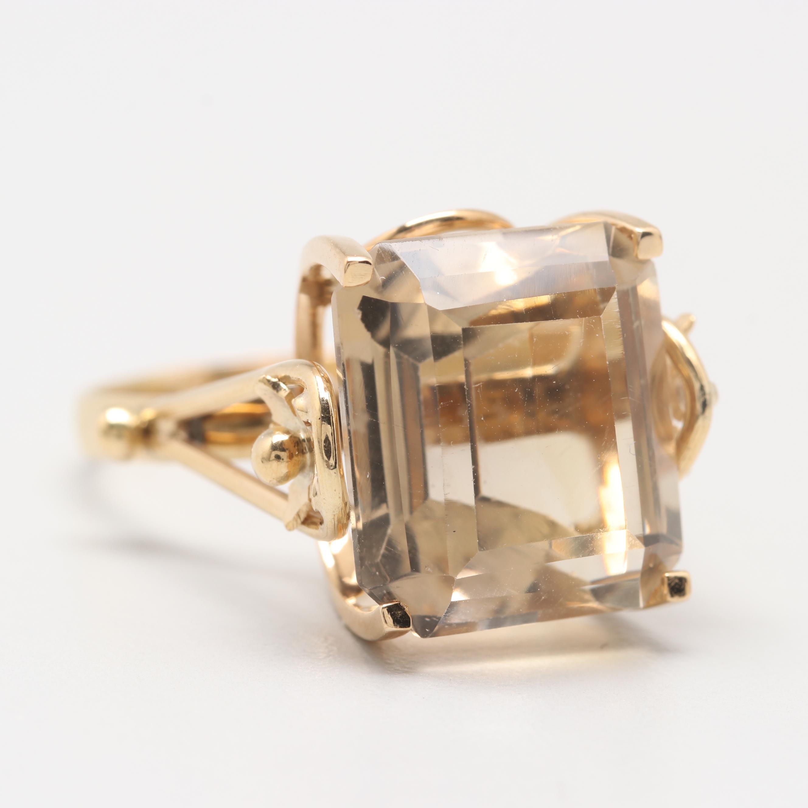 18K Yellow Gold 10.12 CT Citrine Ring