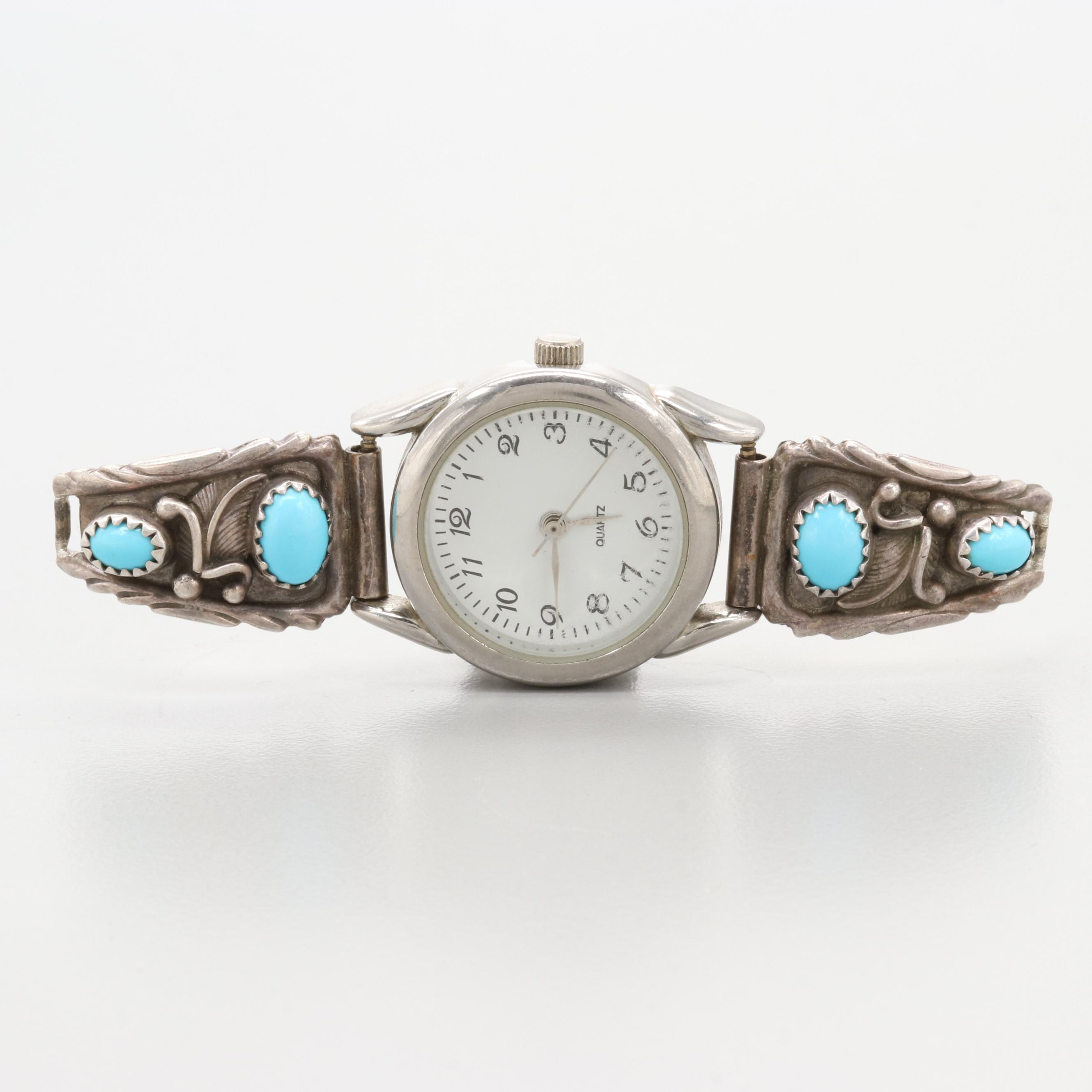 Southwestern Style Sterling Silver and Turquoise Semi Band on Watch