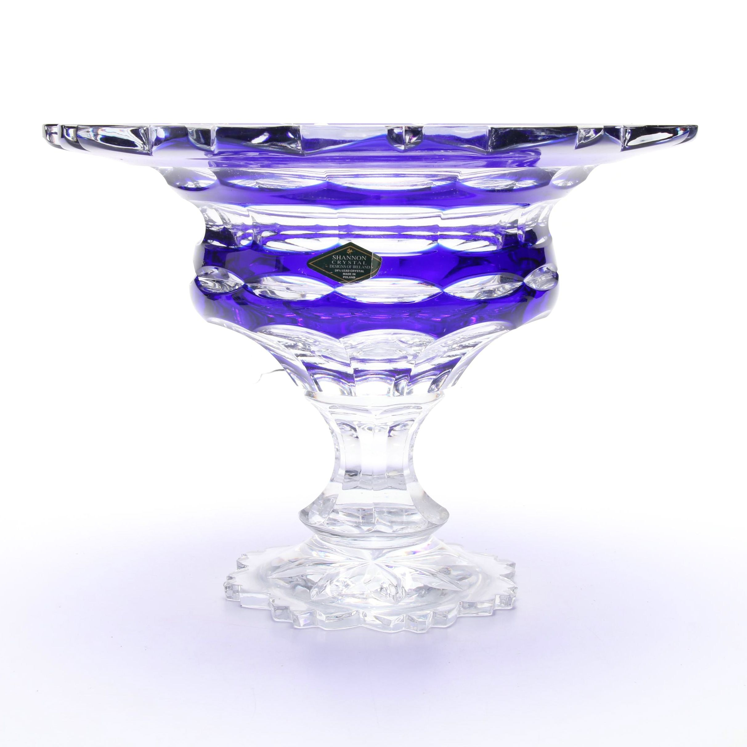 Shannon Crystal Cased Cobalt Cut to Clear Pedestal Bowl