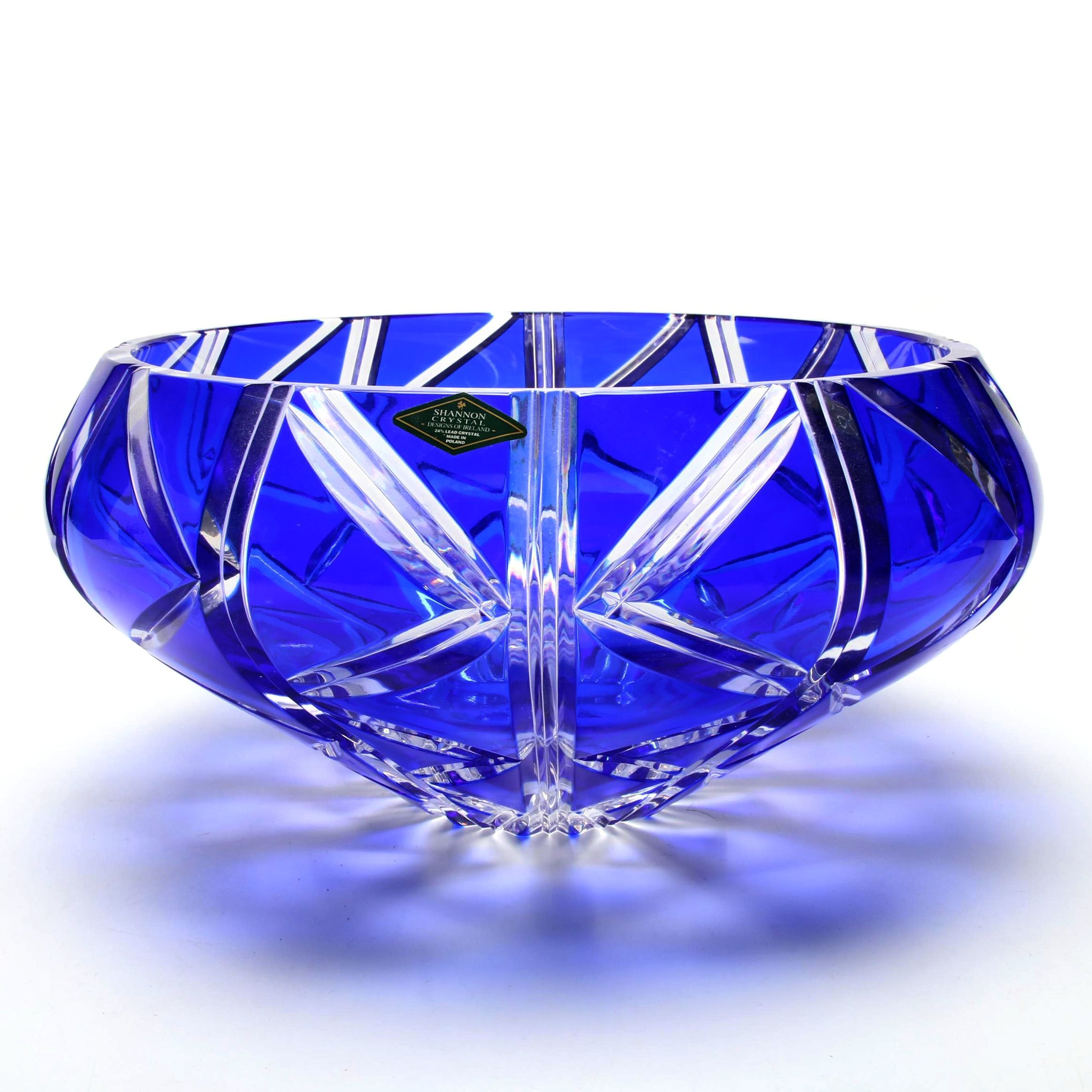 Shannon Crystal Cased Cobalt Cut to Clear Center Bowl